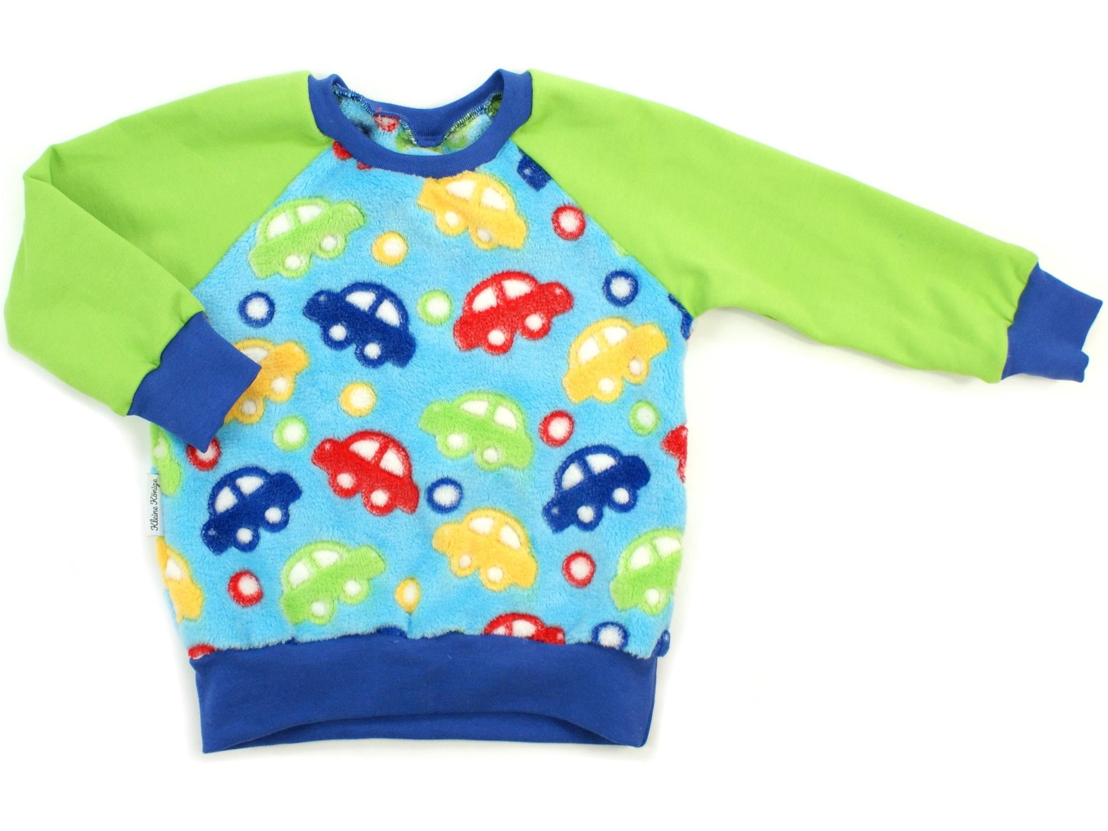 "Kinder Pullover ""Bunte Autos"" royalblau aus Kuschelfleece"