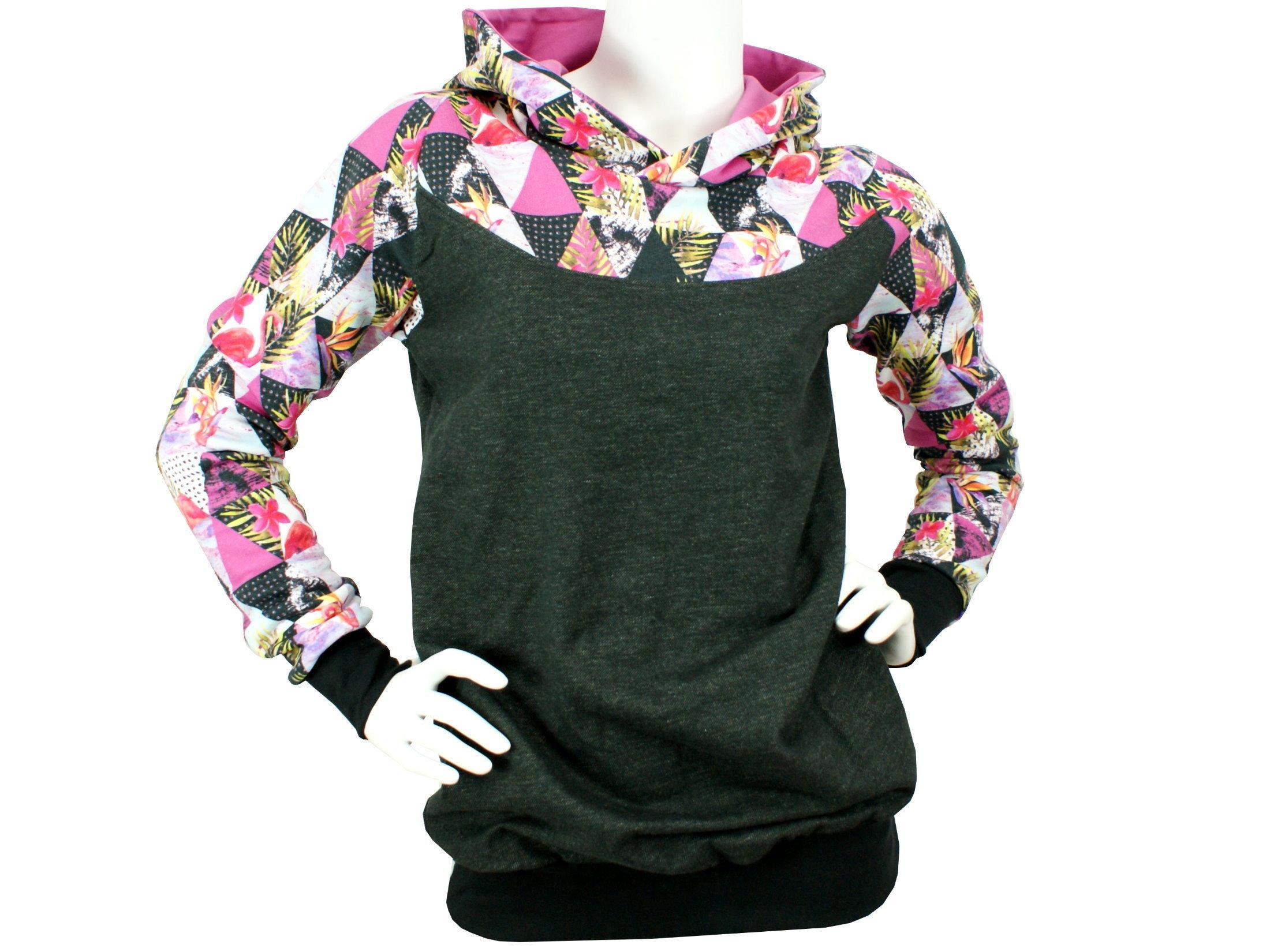 """Damenpullover Hoodie """"Graphic Flamingo"""" pink schwarz"""
