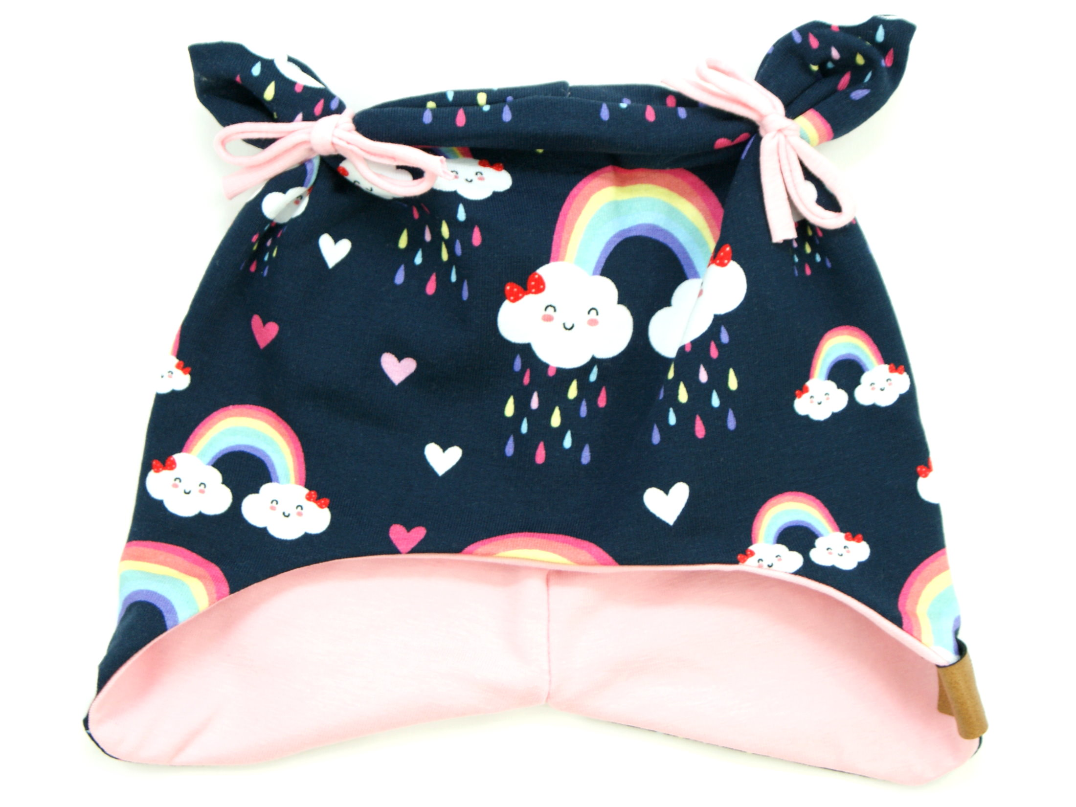 "Kindermütze mit Teddyohren ""Cloudy Rainbow"" marineblau rosa"