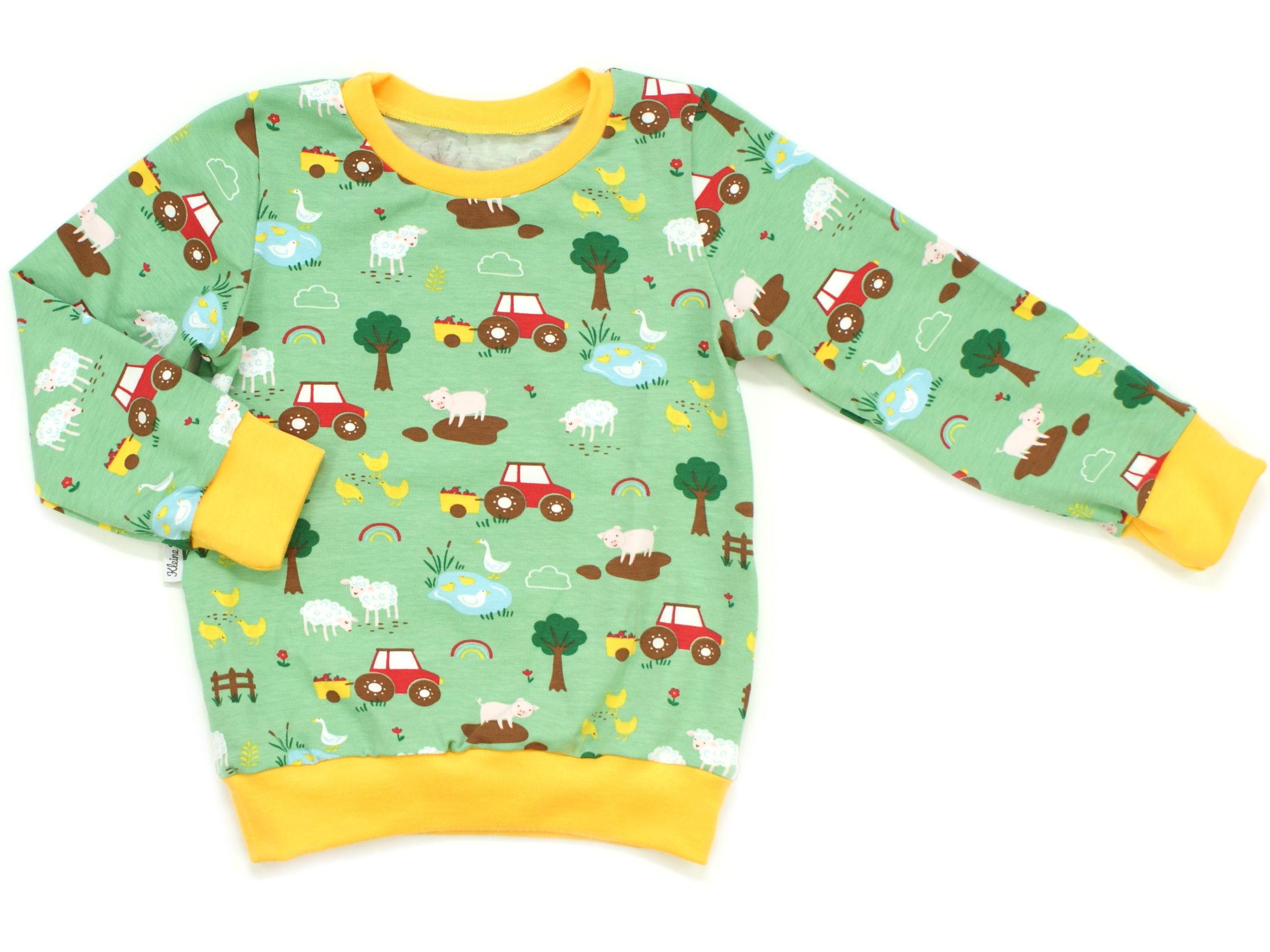 "Kinder Pullover Shirt Bauernhof ""Farm"" grün"