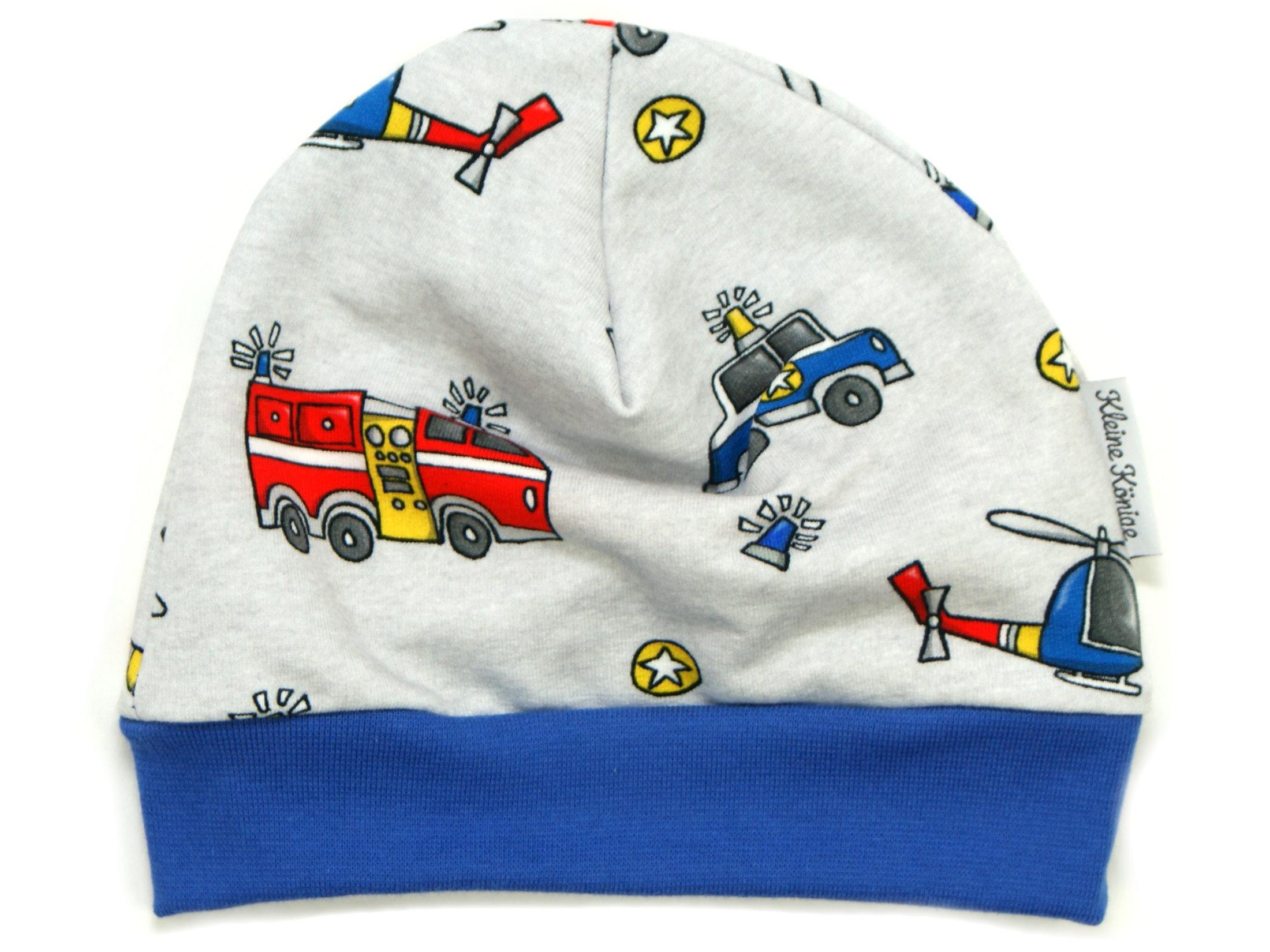 """Kindermütze Feuerwehr Polizei """"Rescue Cars"""" blau"""