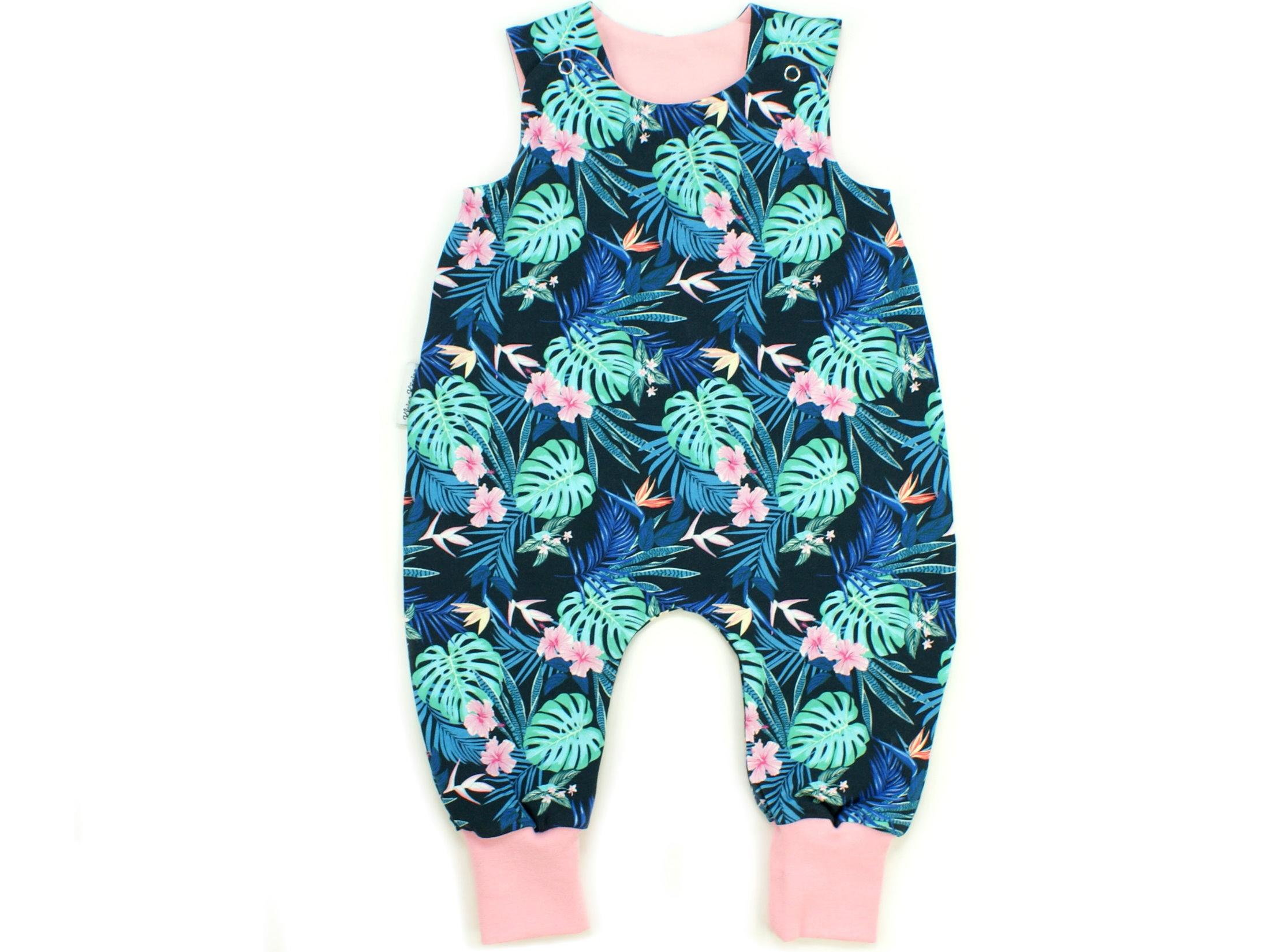 """Baby Strampler """"Tropic"""" marineblau rosa"""