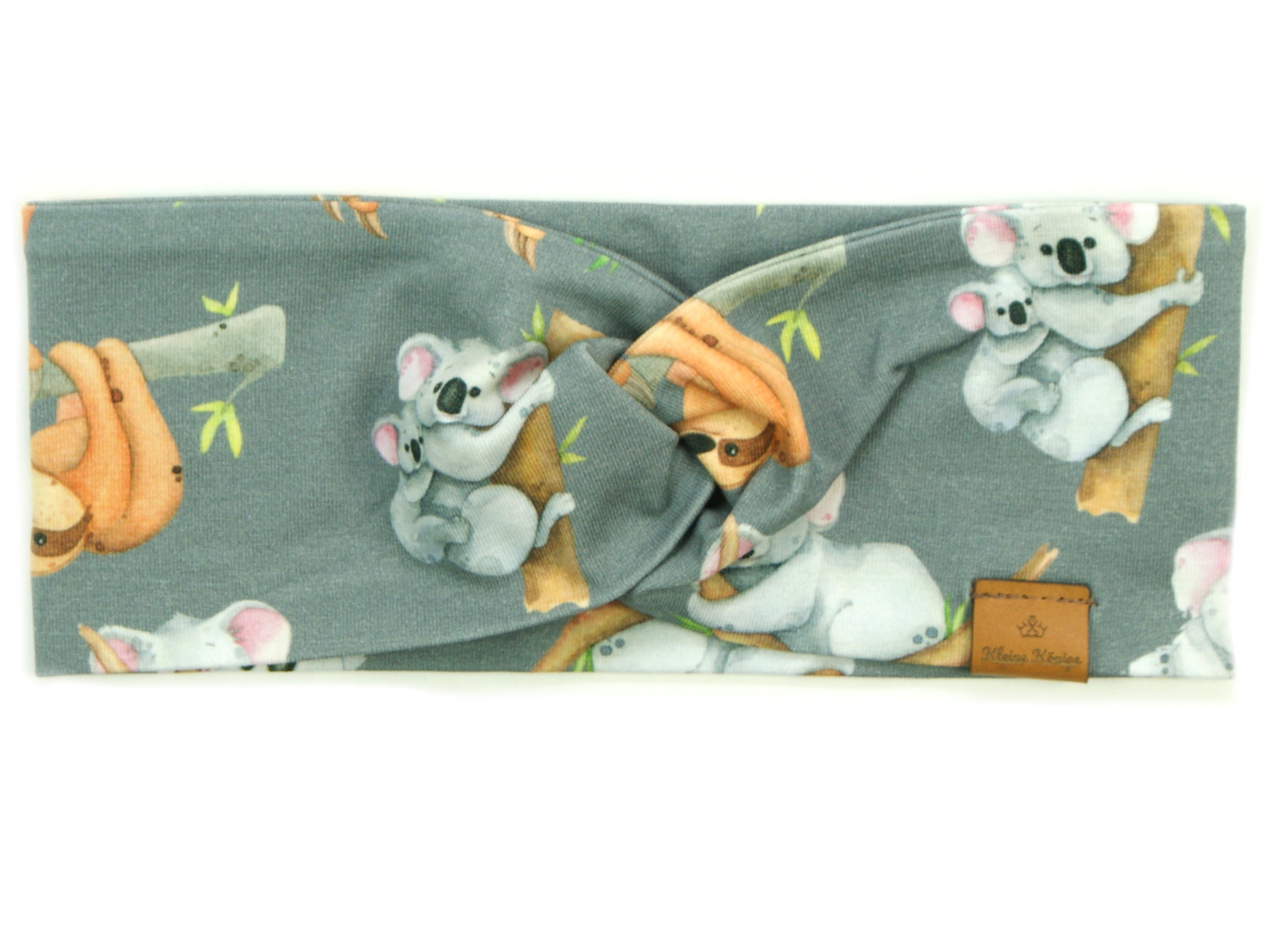 "Kinder Haarband Stirnband ""Koala und Faultier"" grau"