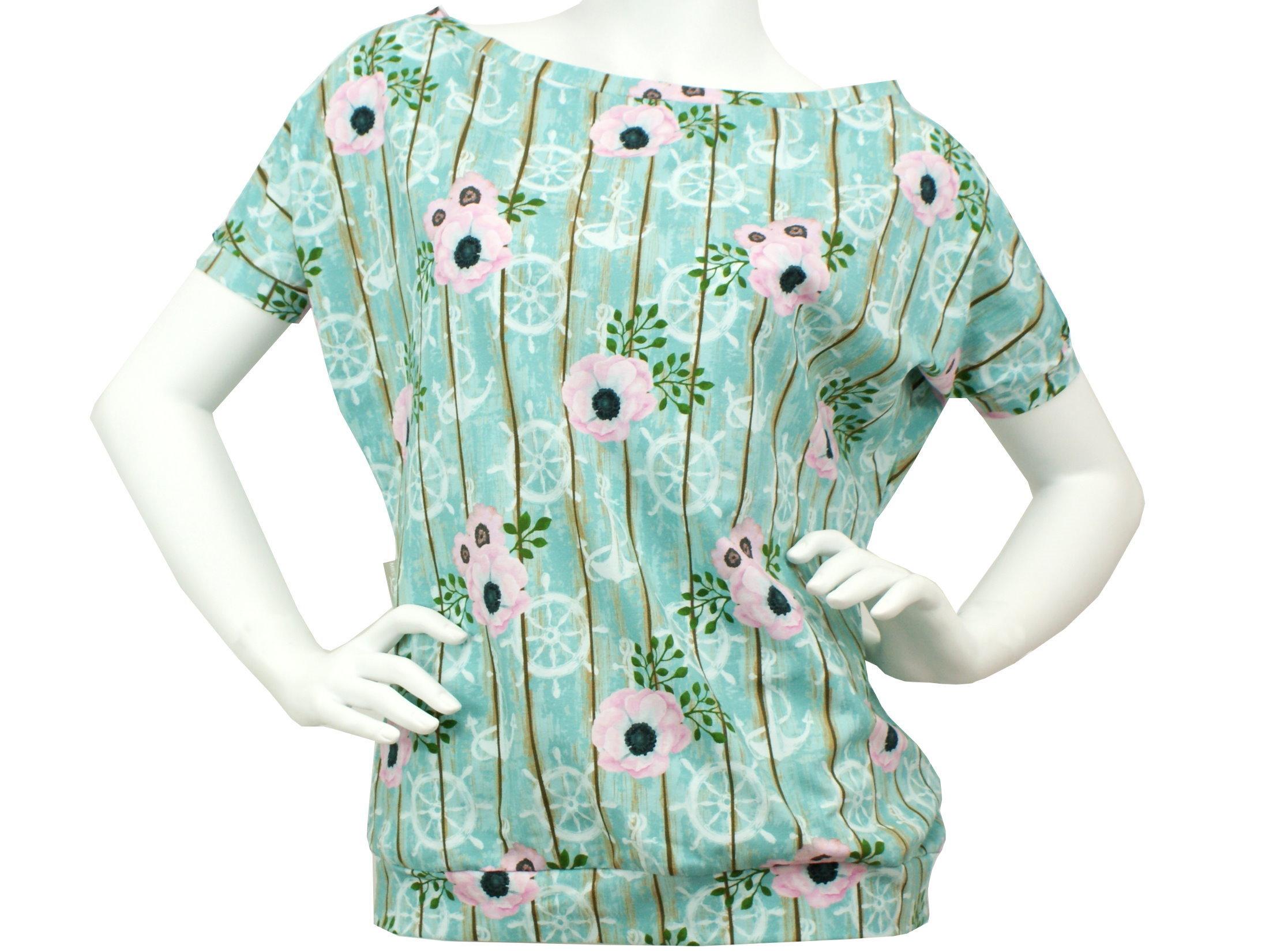"""Damen Fledermausshirt Anker """"Bloomy Anchor"""" mint"""