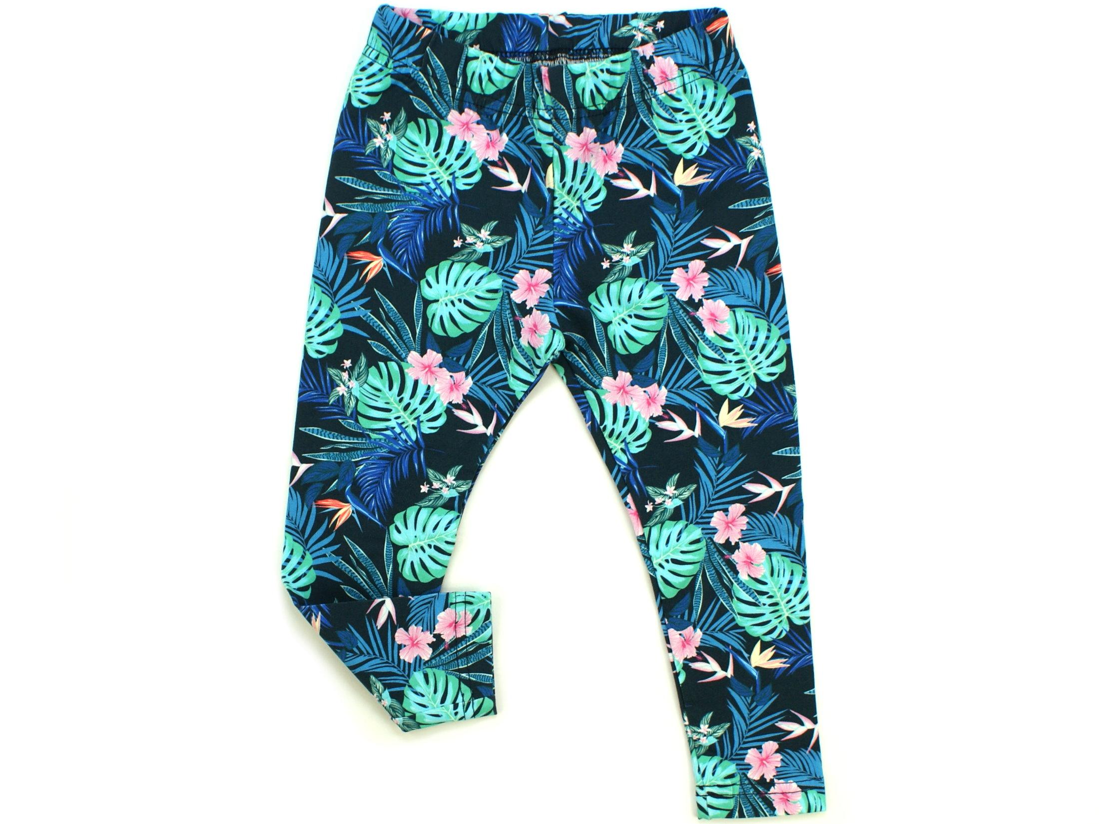 "Kinder Leggings ""Tropic"" marineblau rosa"