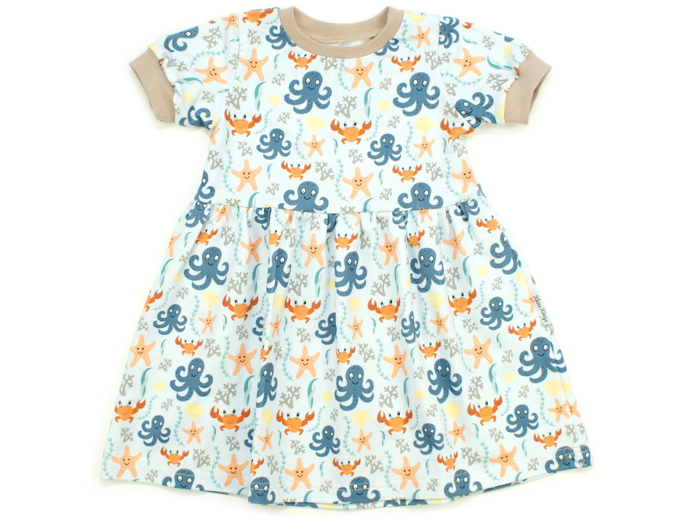 """Kinderkleid Tunika Meerestiere """"Sealife"""" beige blau"""