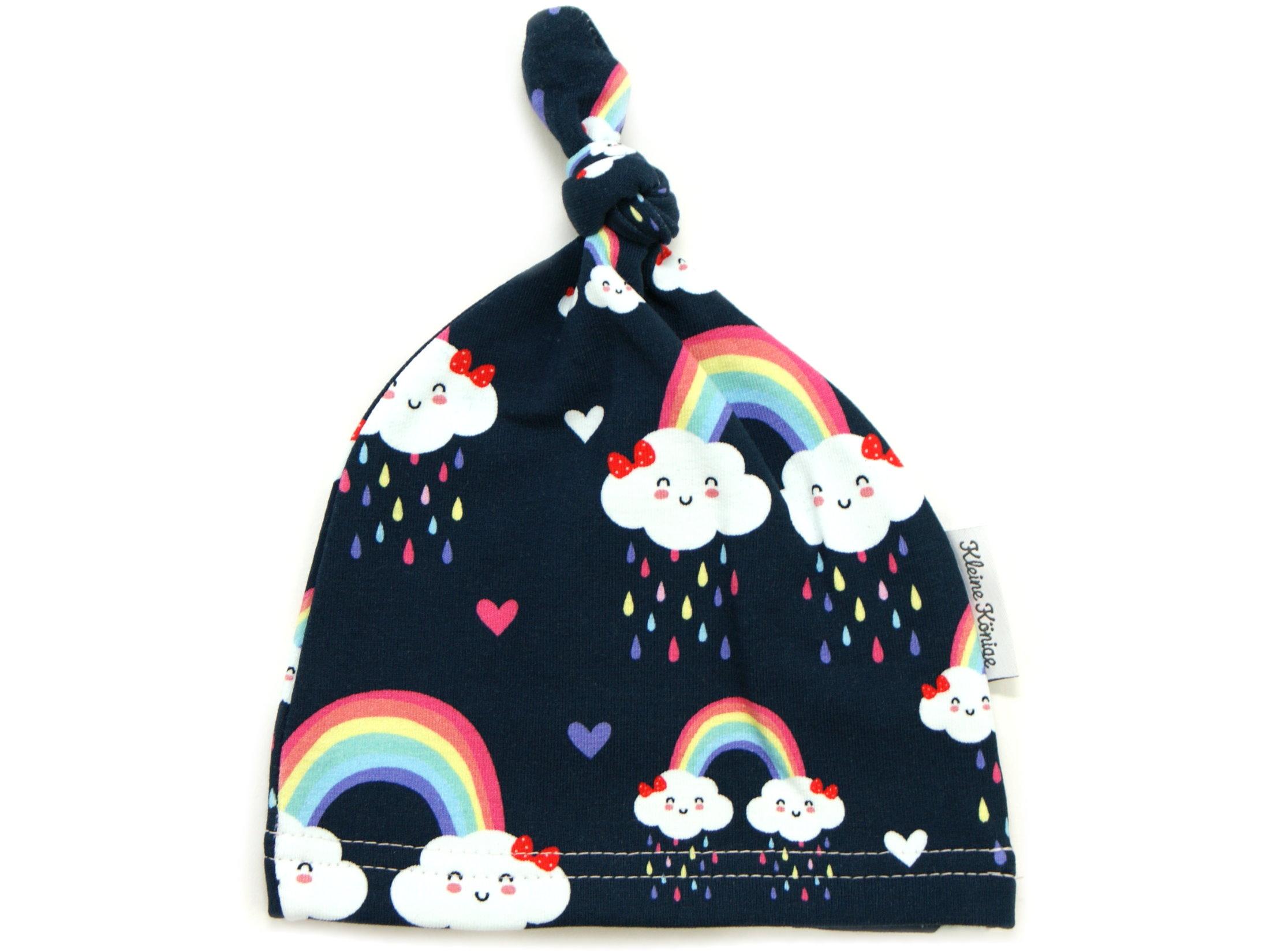 """Babymütze Knotenmütze """"Cloudy Rainbow"""" marineblau rosa"""
