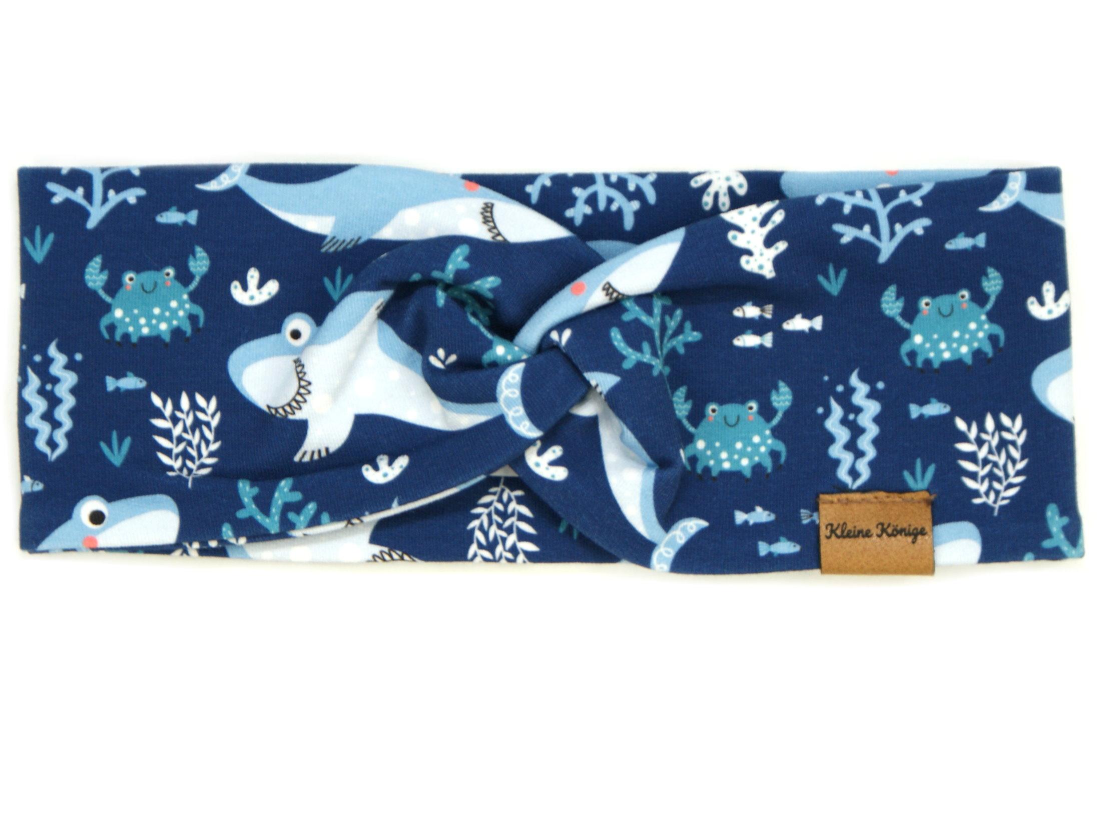"""Kinder Haarband Stirnband Hai """"Lucky Shark"""" marineblau"""