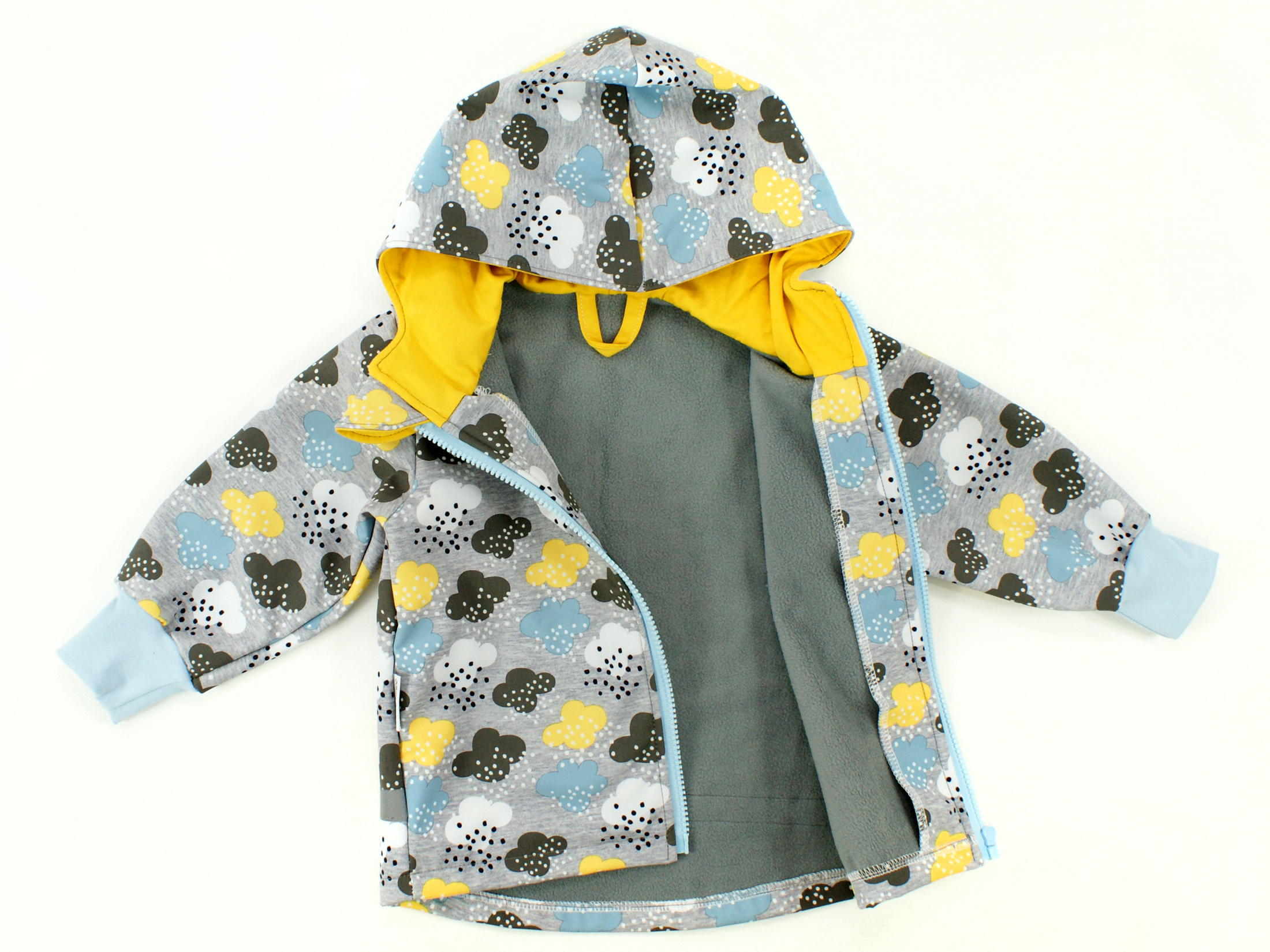 "Kinder Softshell-Jacke Wolken ""Raindrops"" grau blau"