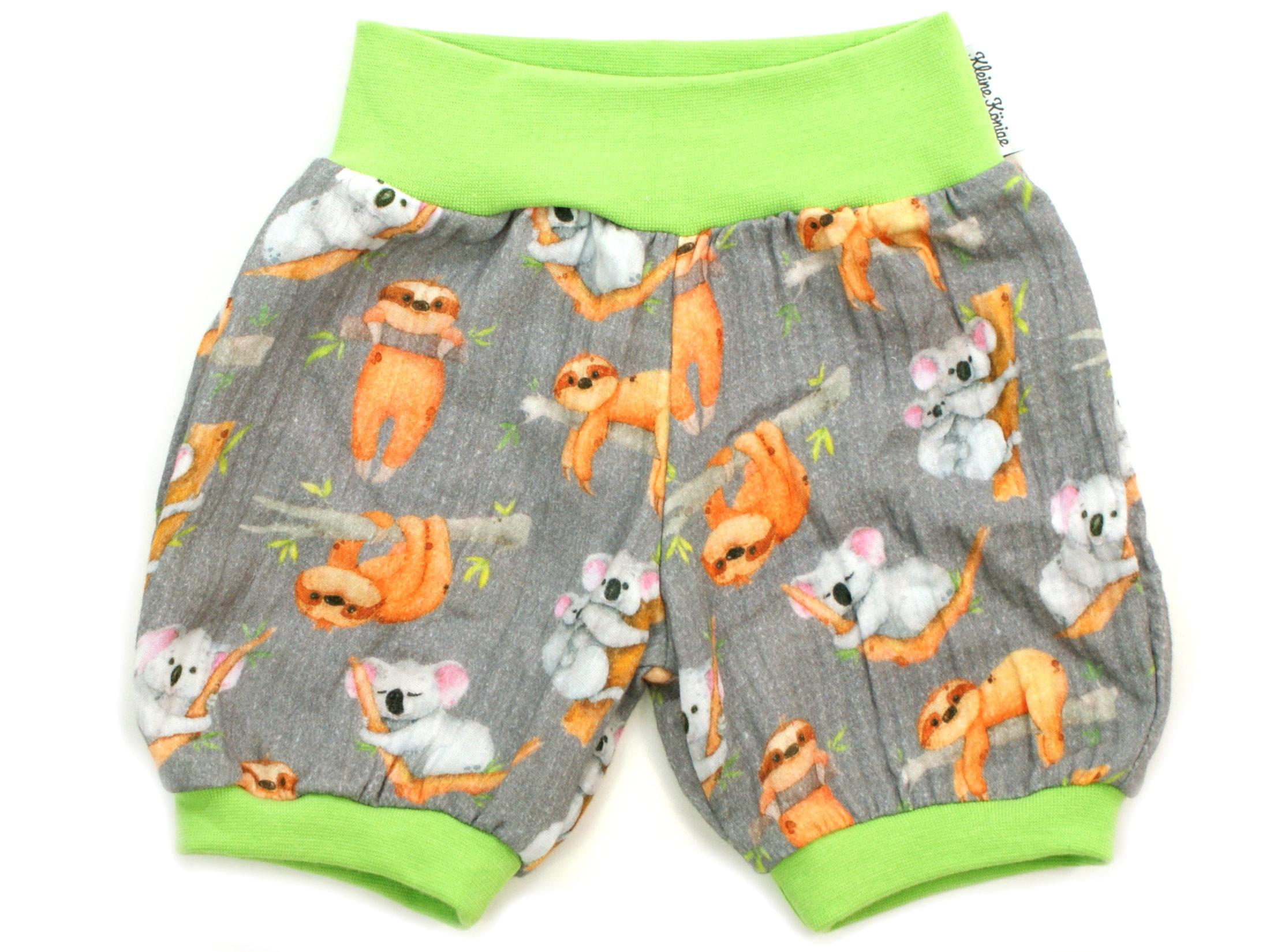 """Musselin Kinder Shorts """"Koala und Faultier"""" grau"""