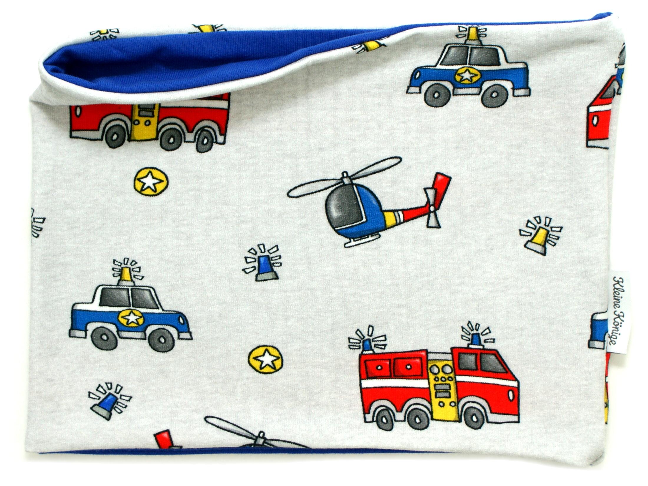 """Kinderloop Schal Feuerwehr Polizei """"Rescue Cars"""" blau"""