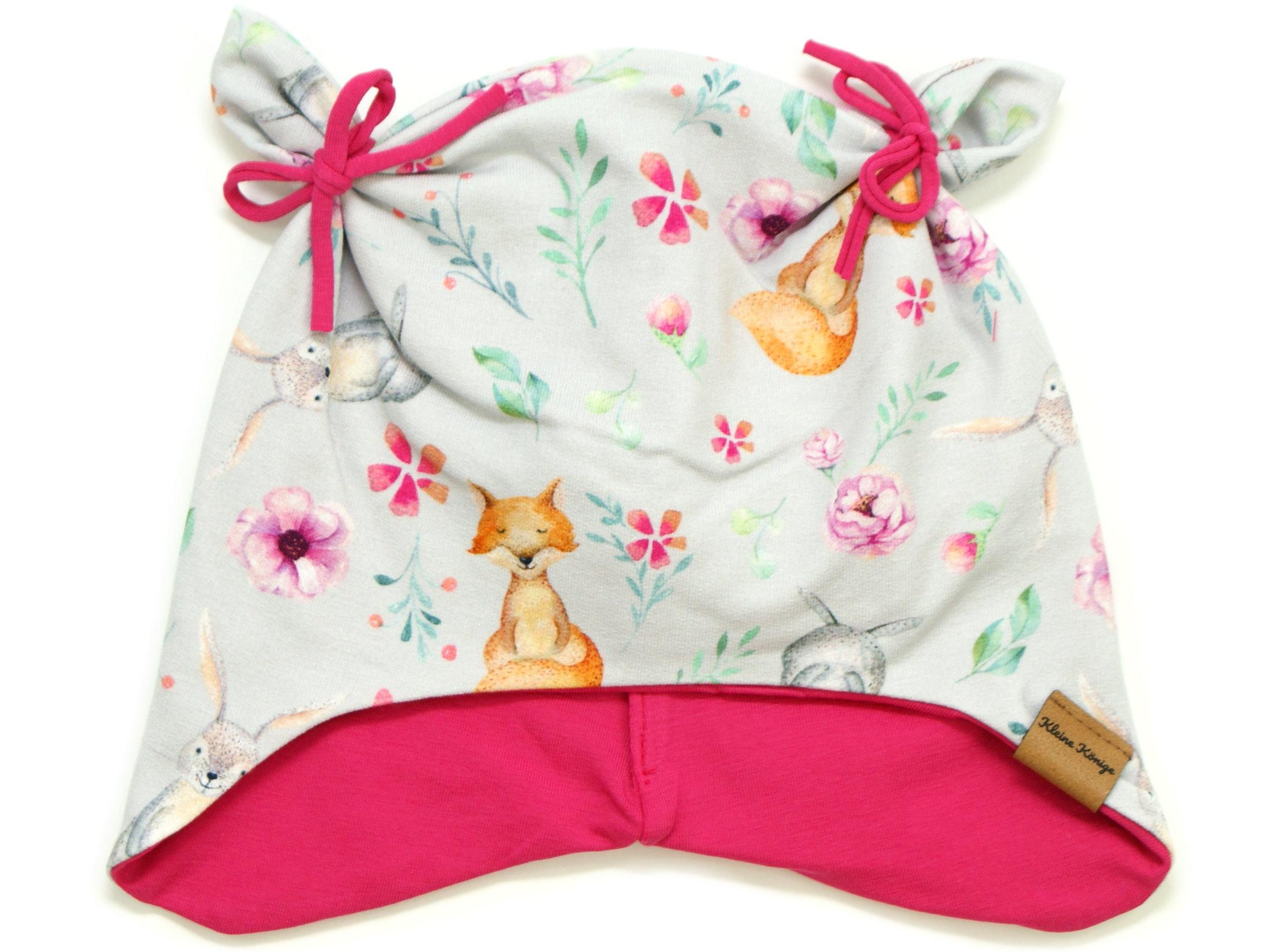 """Kindermütze mit Teddyohren """"Bloomy Wood"""" hellgrau pink"""