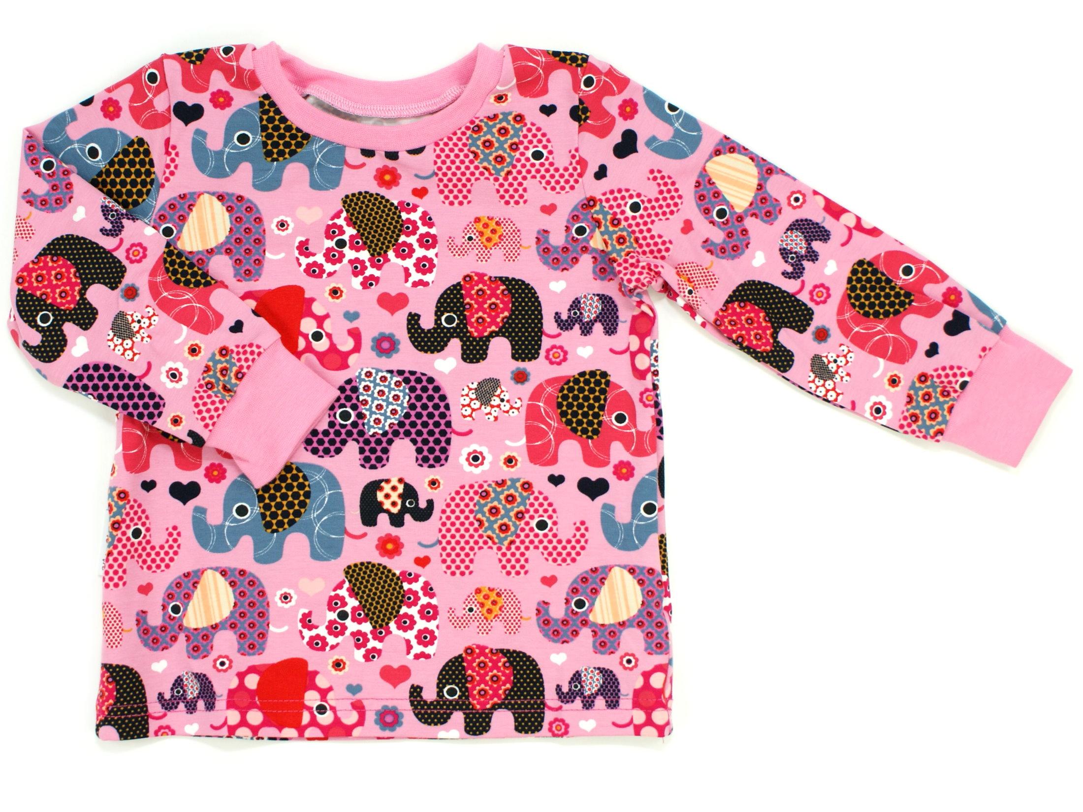 """Kinder Langarmshirt """"Elefantenparty"""" beere rosa Allover"""
