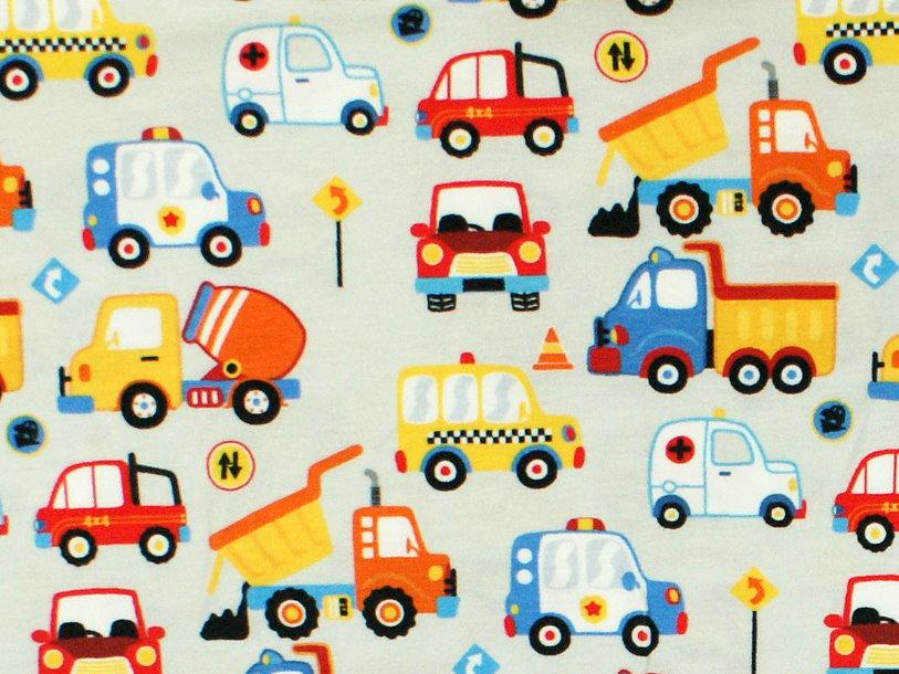 """Kindermütze Autos """"Happy Cars"""" hellgrau"""