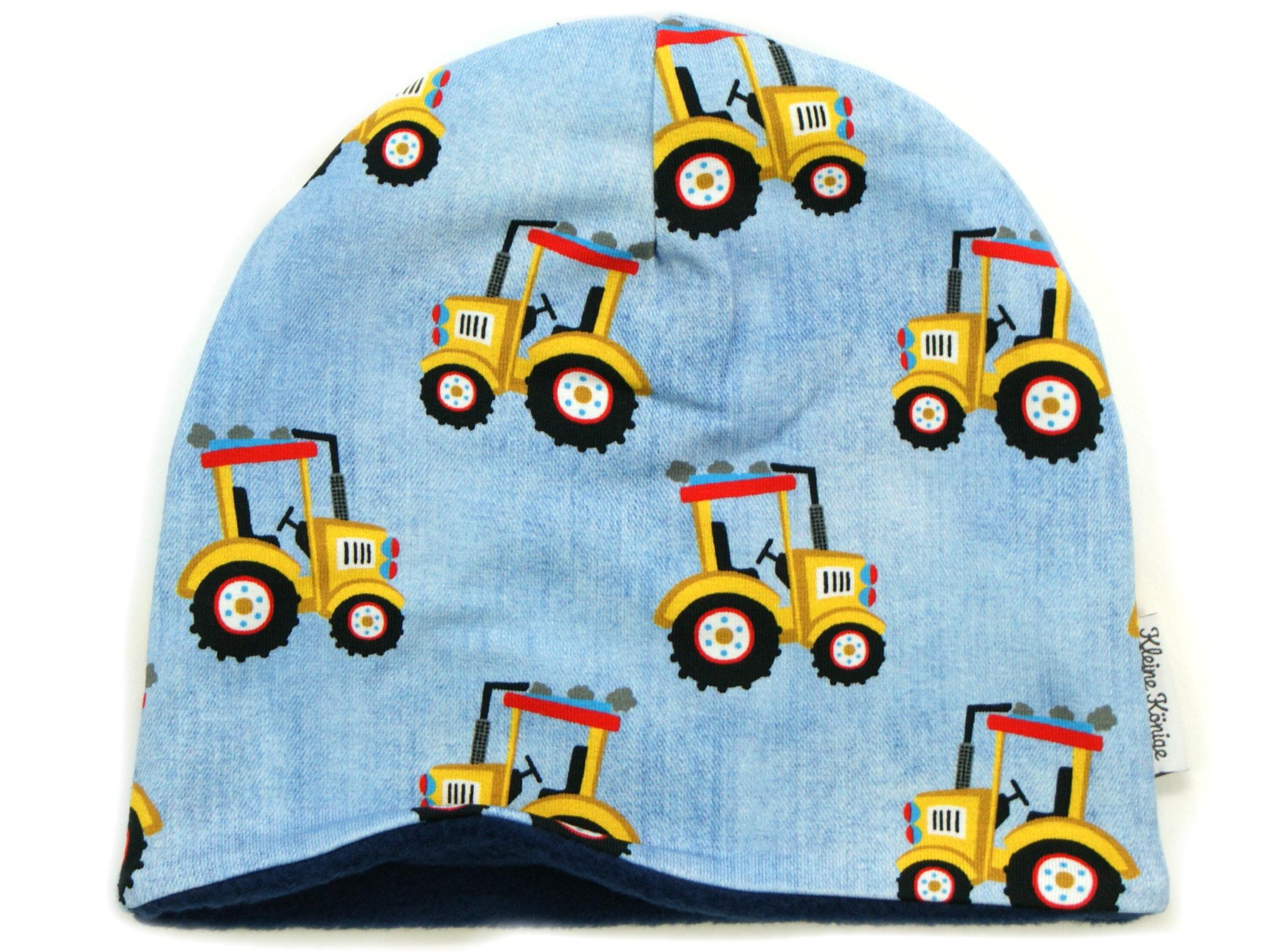 "Kindermütze Beanie ""Gelber Traktor"" hellblau"