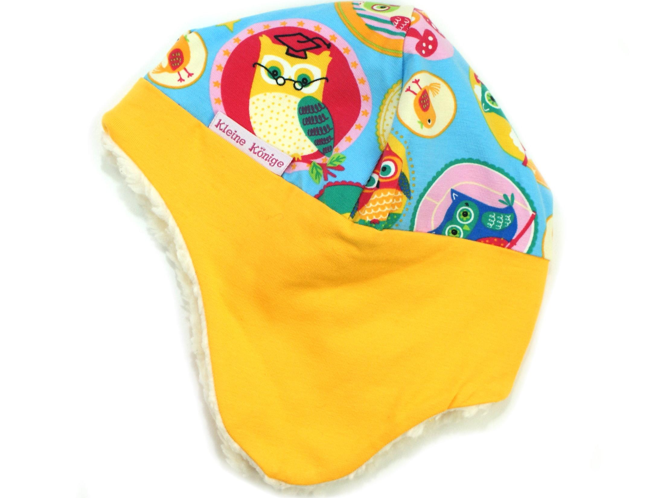 """Wintermütze mit Teddyfell """"Frau Eule"""" blau gelb"""