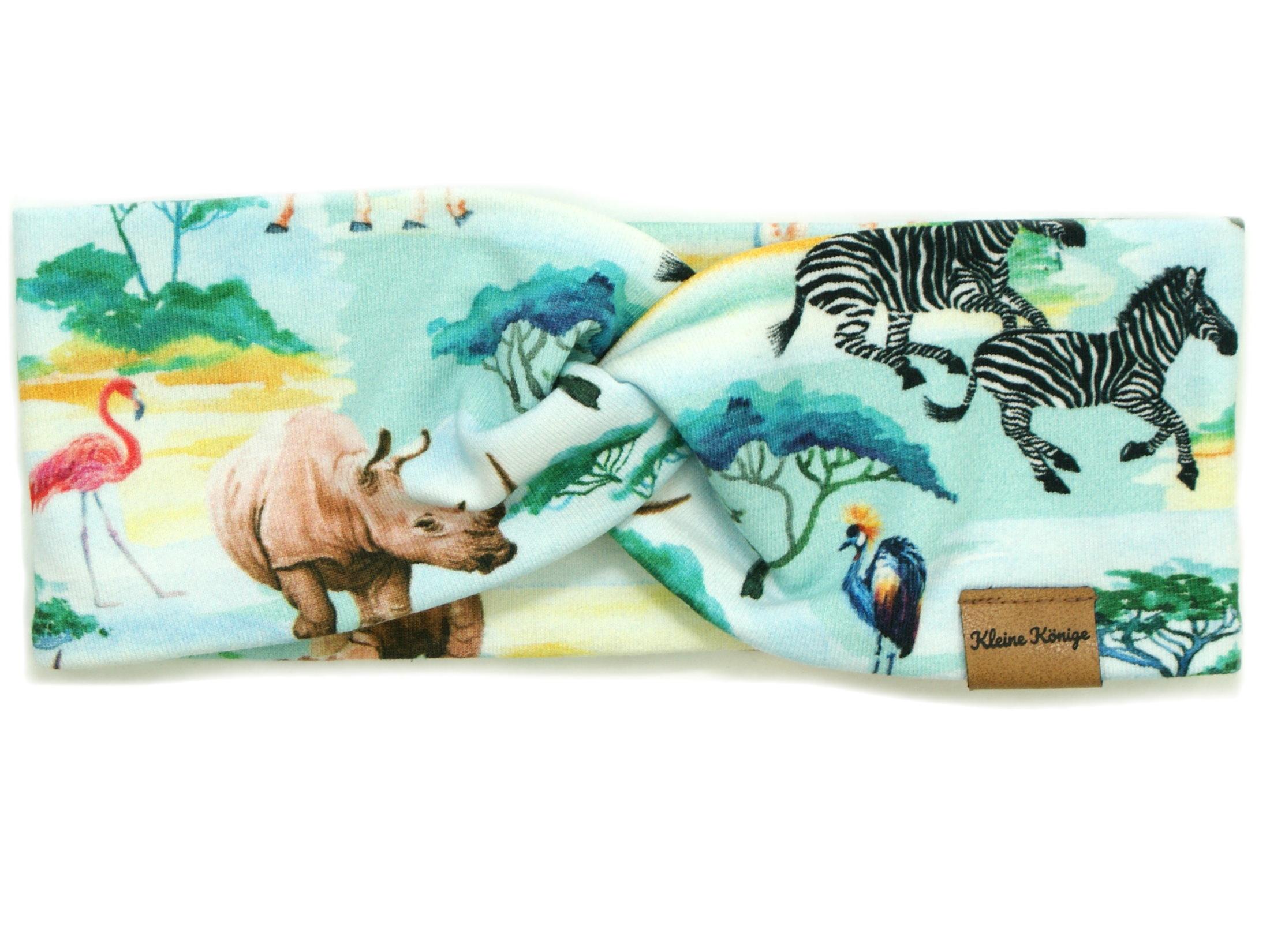 """Kinder Haarband Stirnband Dschungeltiere """"Safari"""" aqua"""