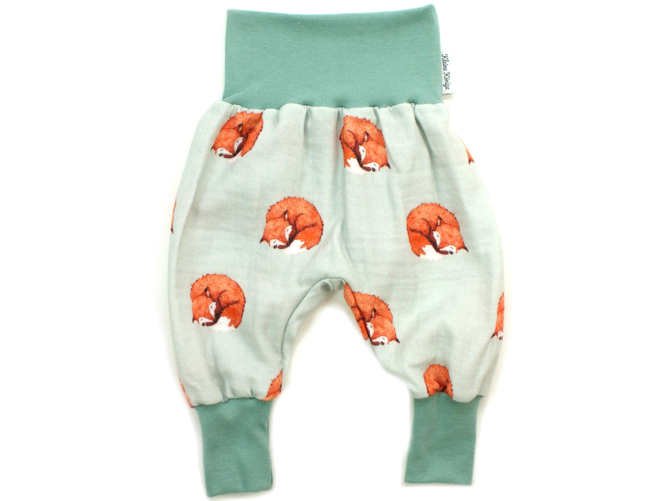 "Musselin Baby Pumphose ""Fuchs"" mint"