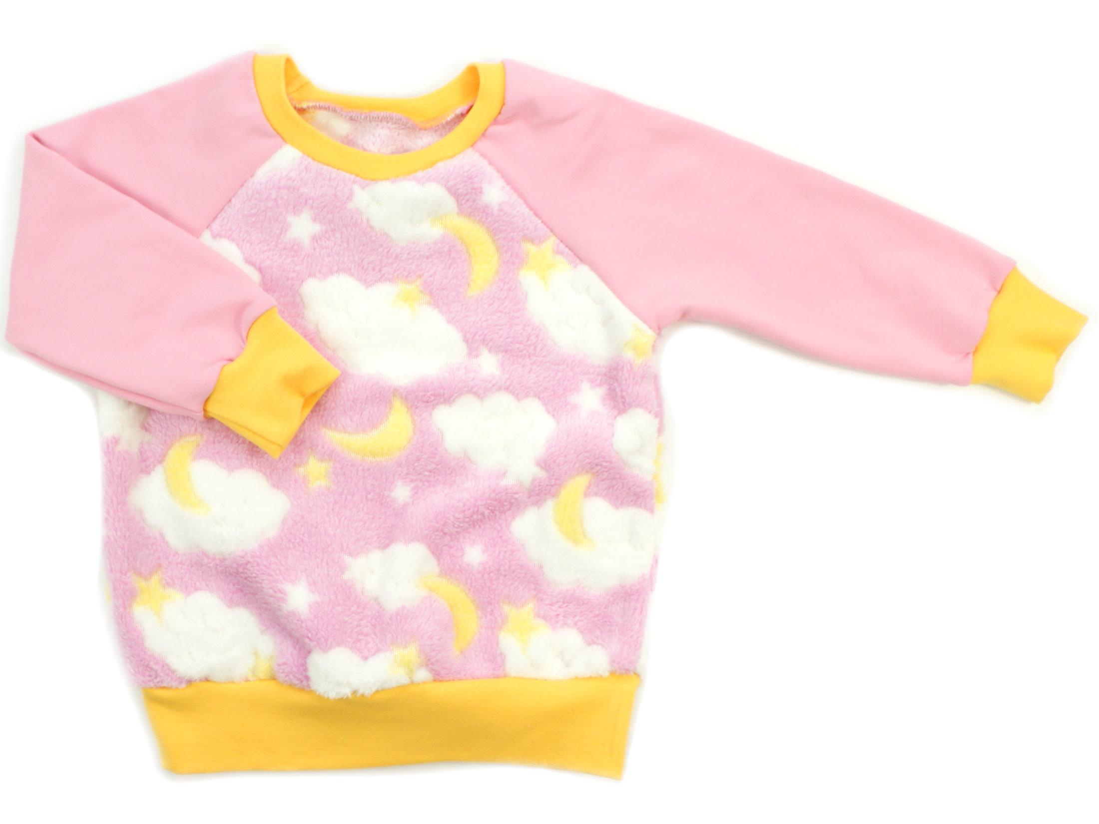 """Kinder Pullover """"Mond und Sterne"""" rosa gelb aus Kuschelfleece"""