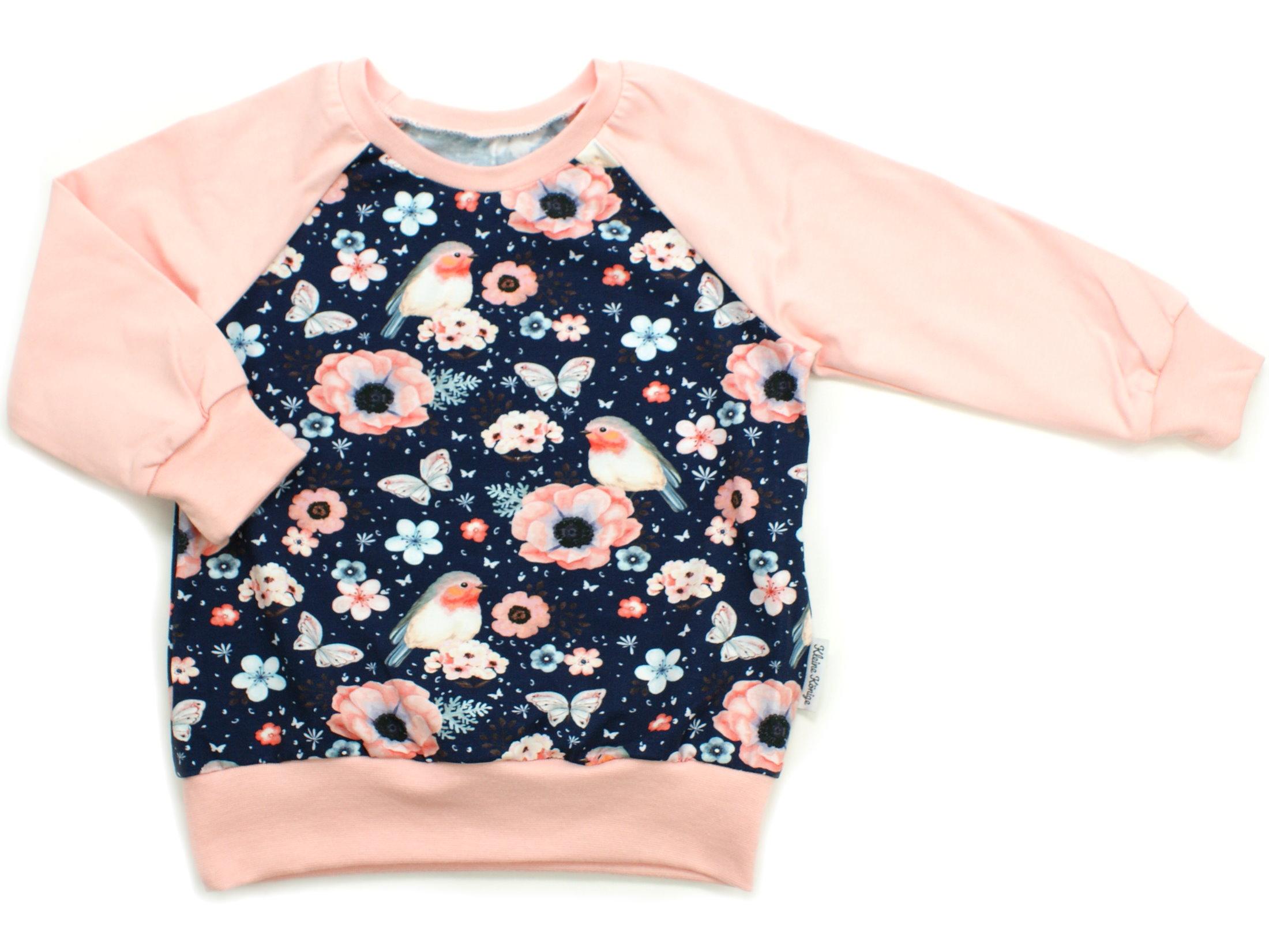 """Kinder Pullover Shirt Vögel """"Birds"""" marineblau"""
