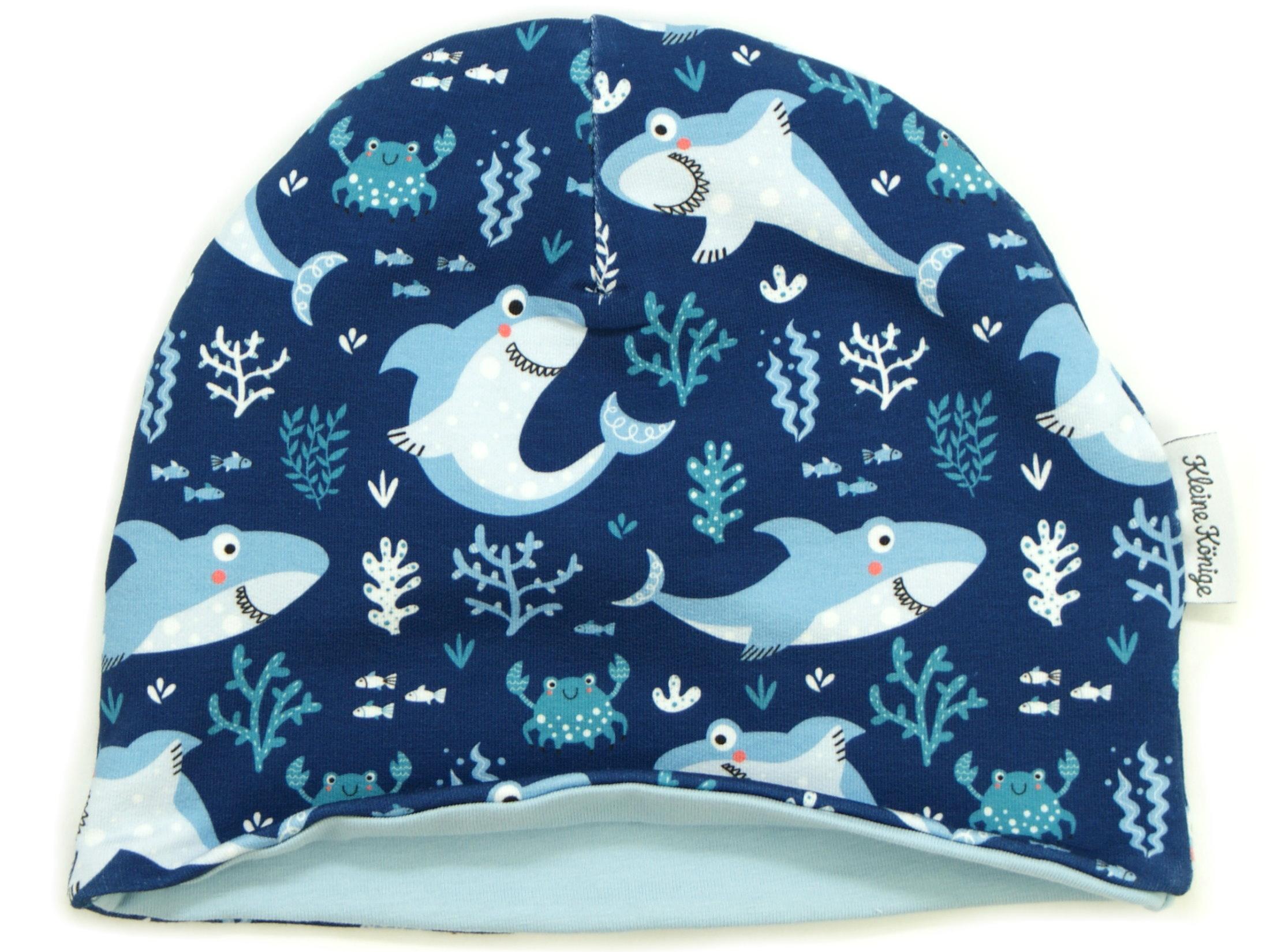 """Kindermütze Beanie Hai """"Lucky Shark"""" marineblau"""