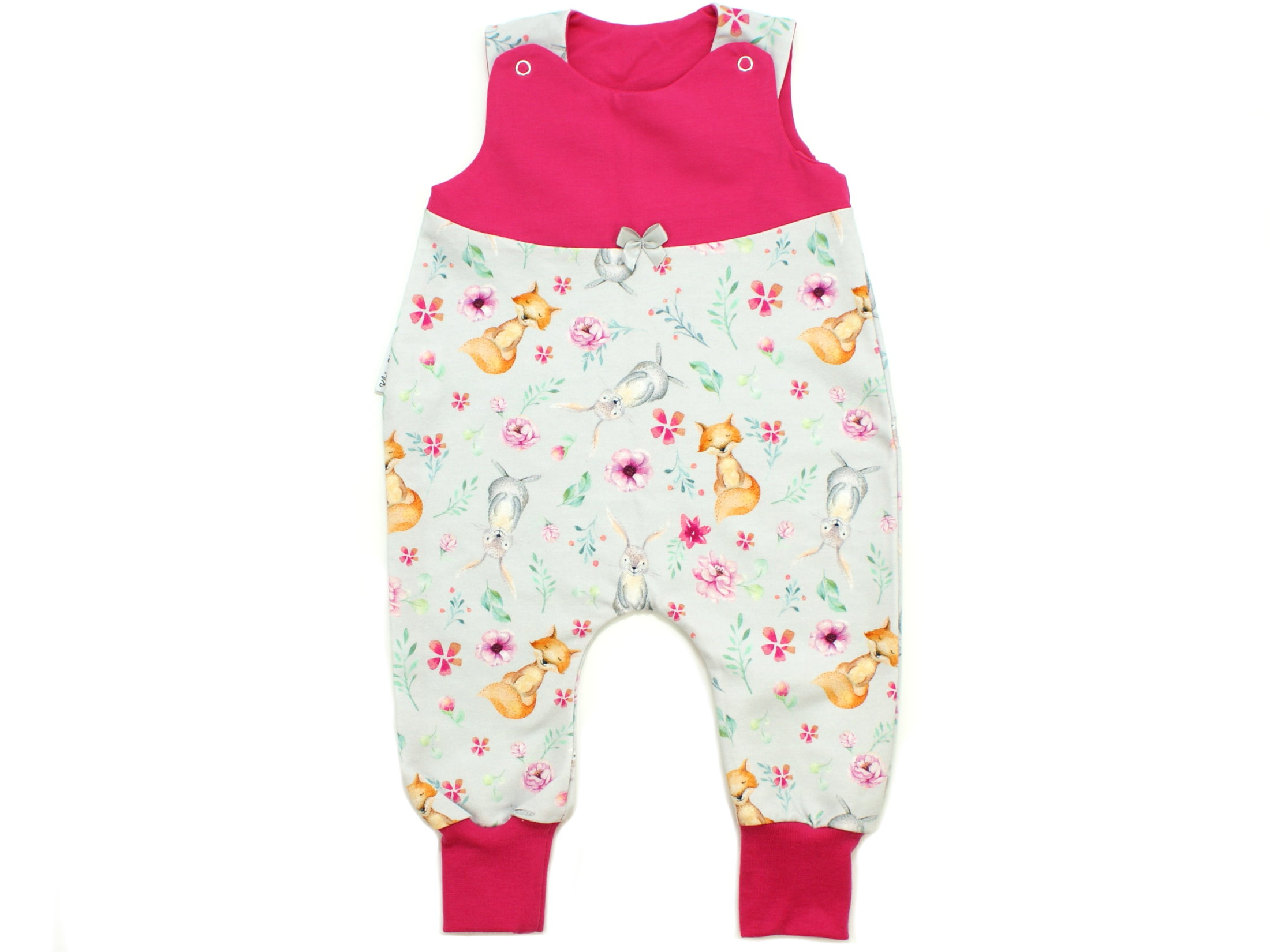 """Baby Strampler Hase Fuchs """"Bloomy Wood"""" hellgrau pink"""
