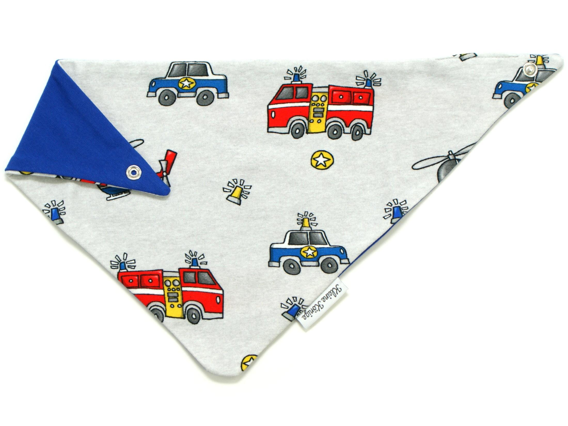 """Baby Wende-Halstuch Feuerwehr Polizei """"Rescue Cars"""" blau"""