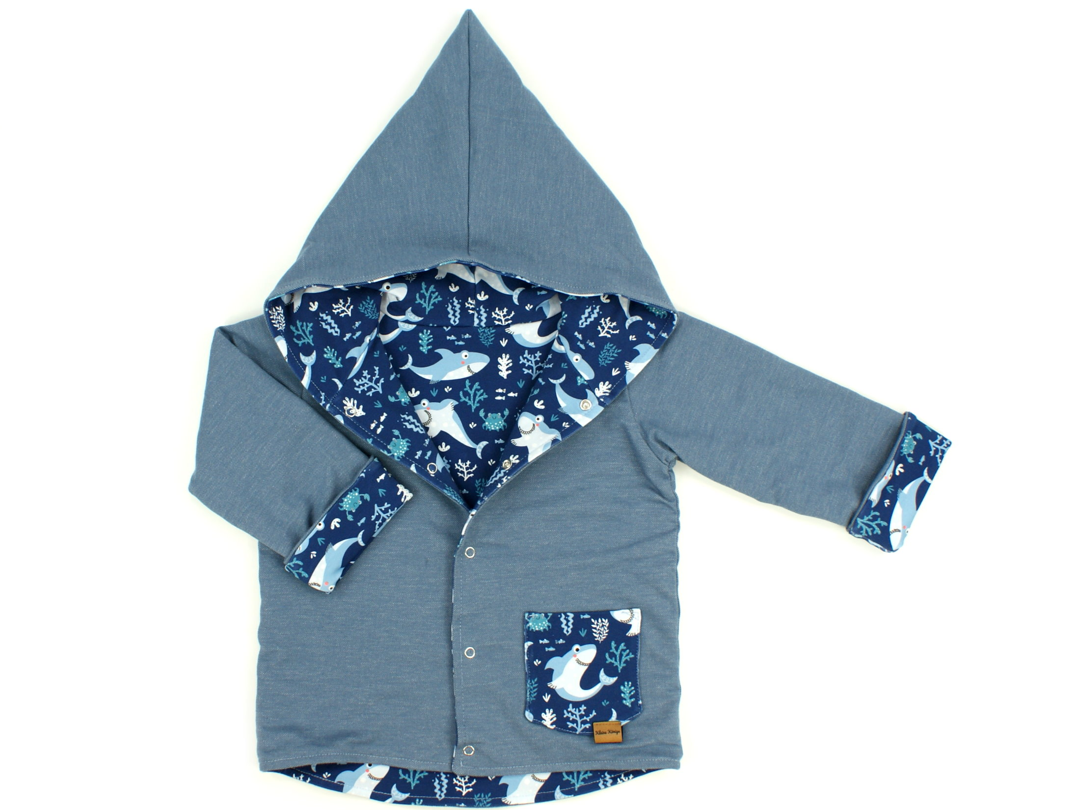 "Kinder Kapuzenjacke Hai ""Lucky Shark"" marineblau"