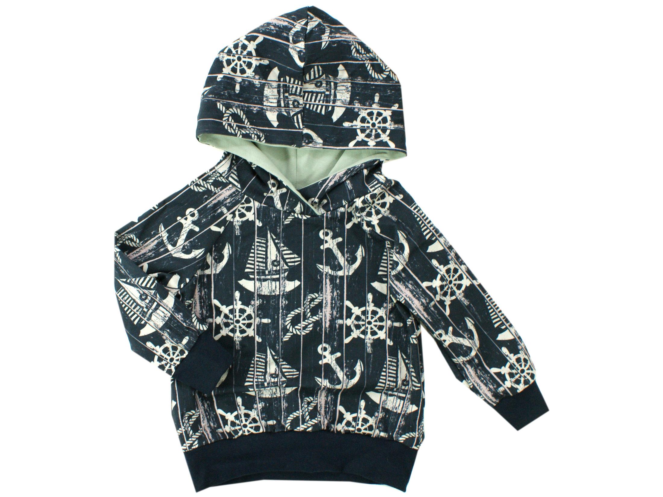 """Kinder Kapuzen Pullover Hoodie Anker """"Sailing"""" marineblau"""