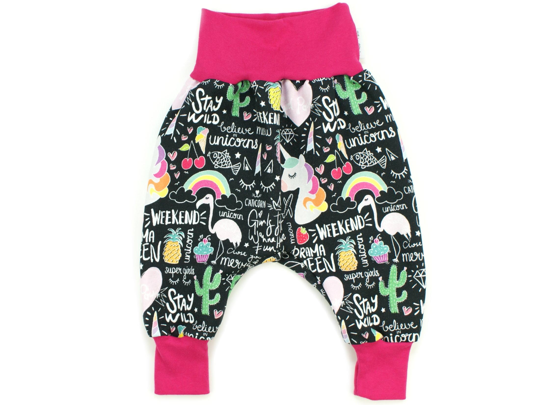 """Baby Sweathose Einhorn """"Crazy Unicorn"""" schwarz pink"""