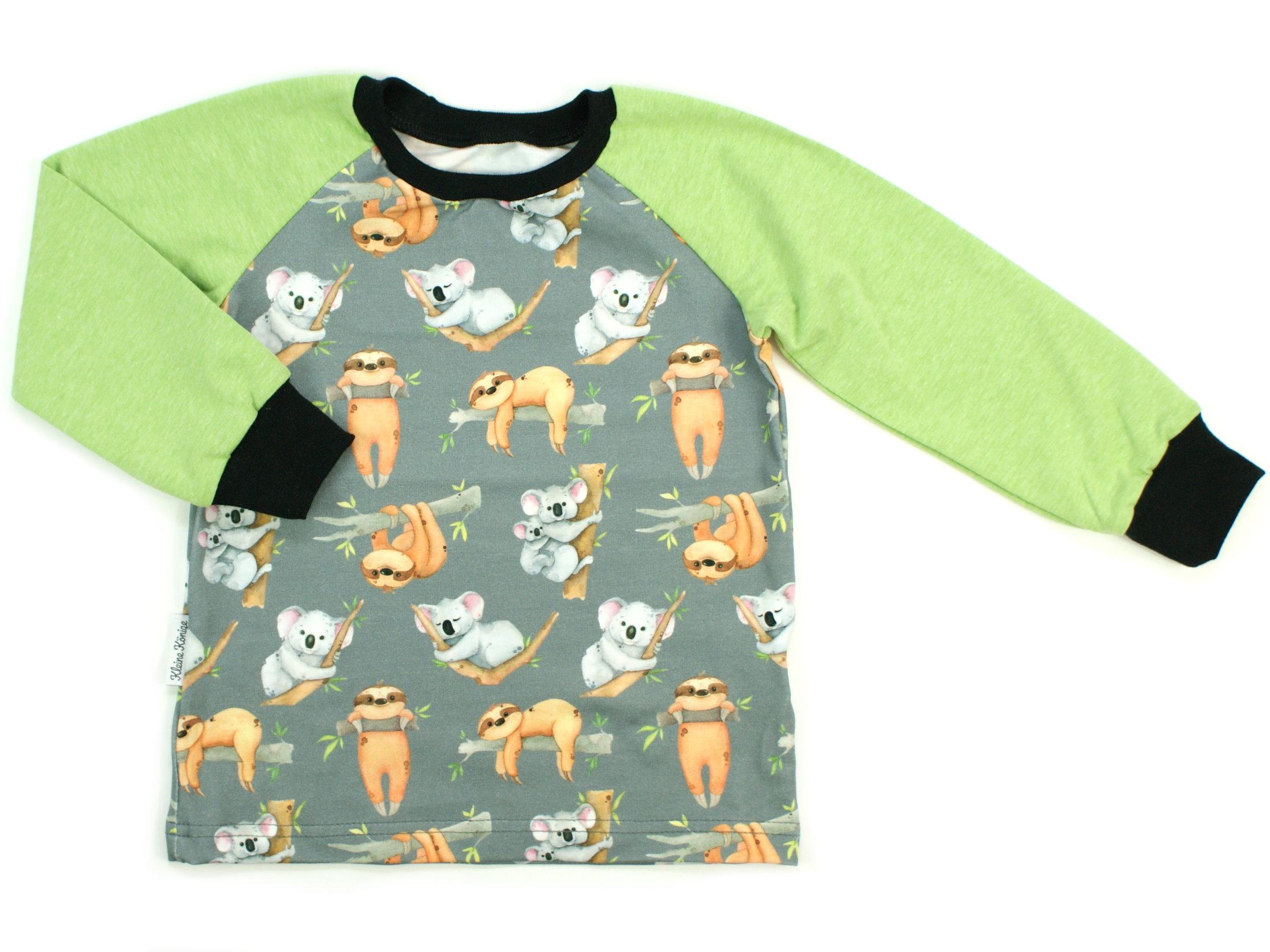 "Kinder Langarmshirt ""Koala & Faultier"" grau lemon"