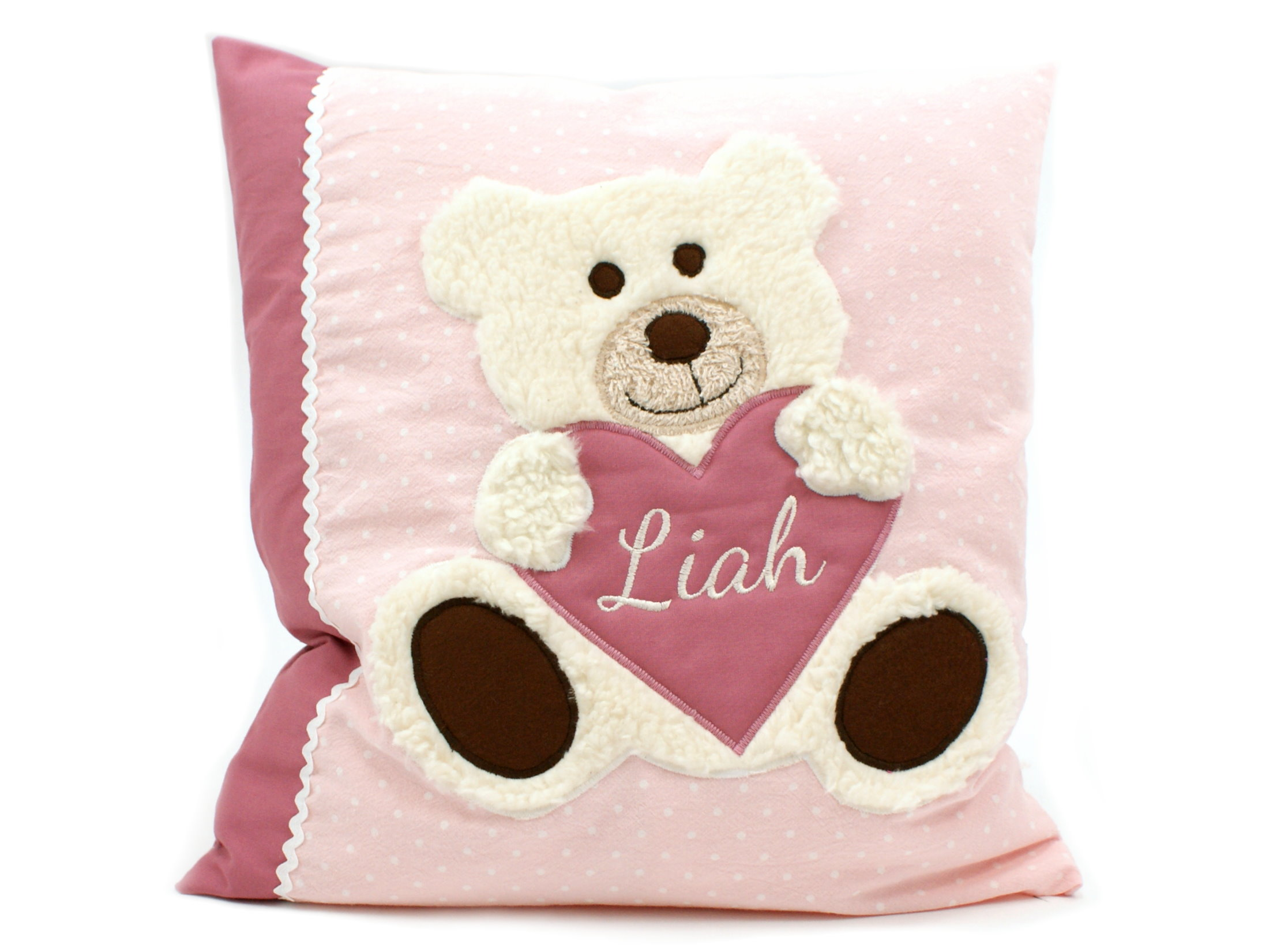 "Namenskissen ""Teddybär"" Herz in rosa beere"