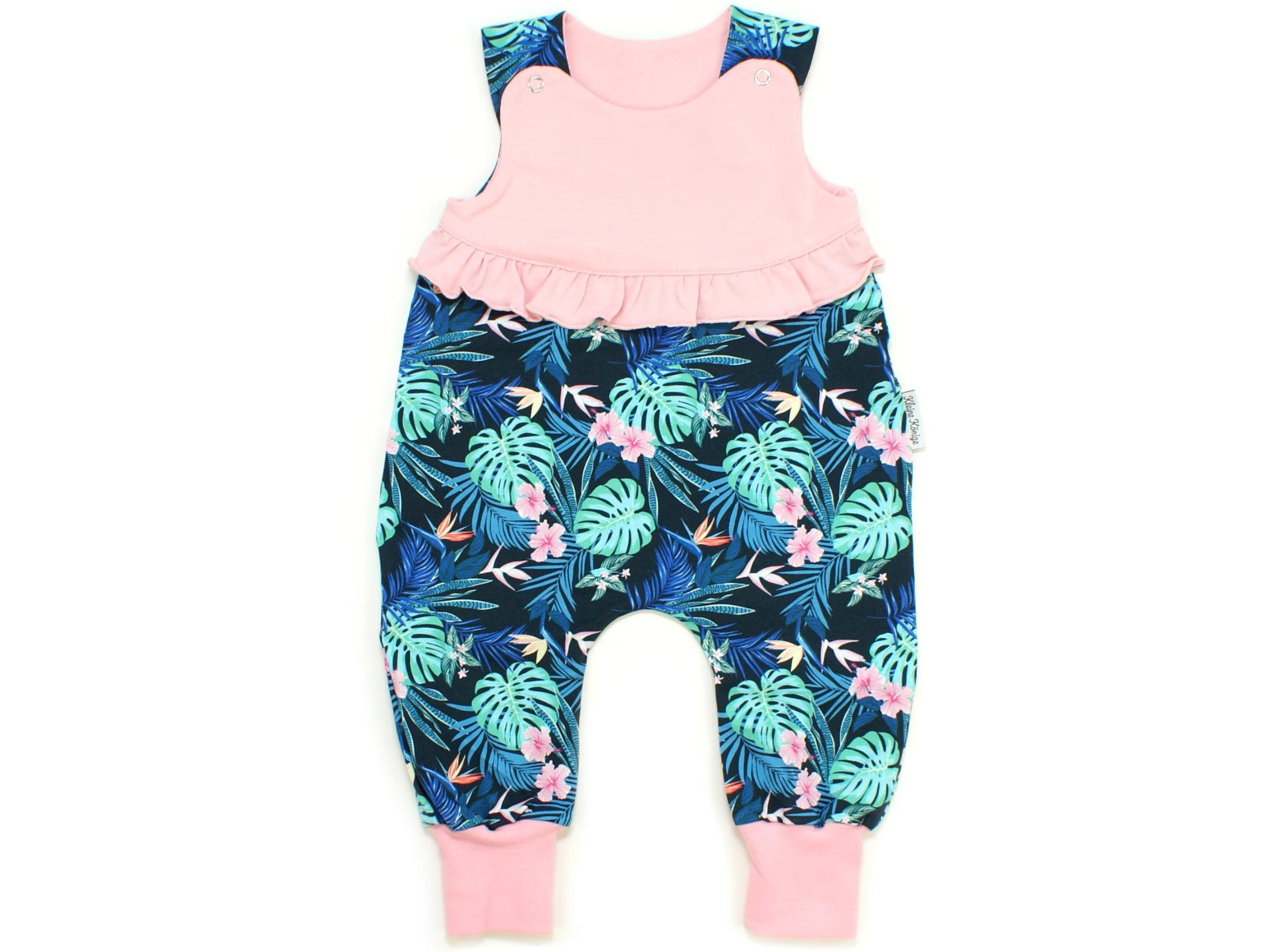 """Baby Strampler """"Tropic"""" marineblau rosa mit Rüsche"""