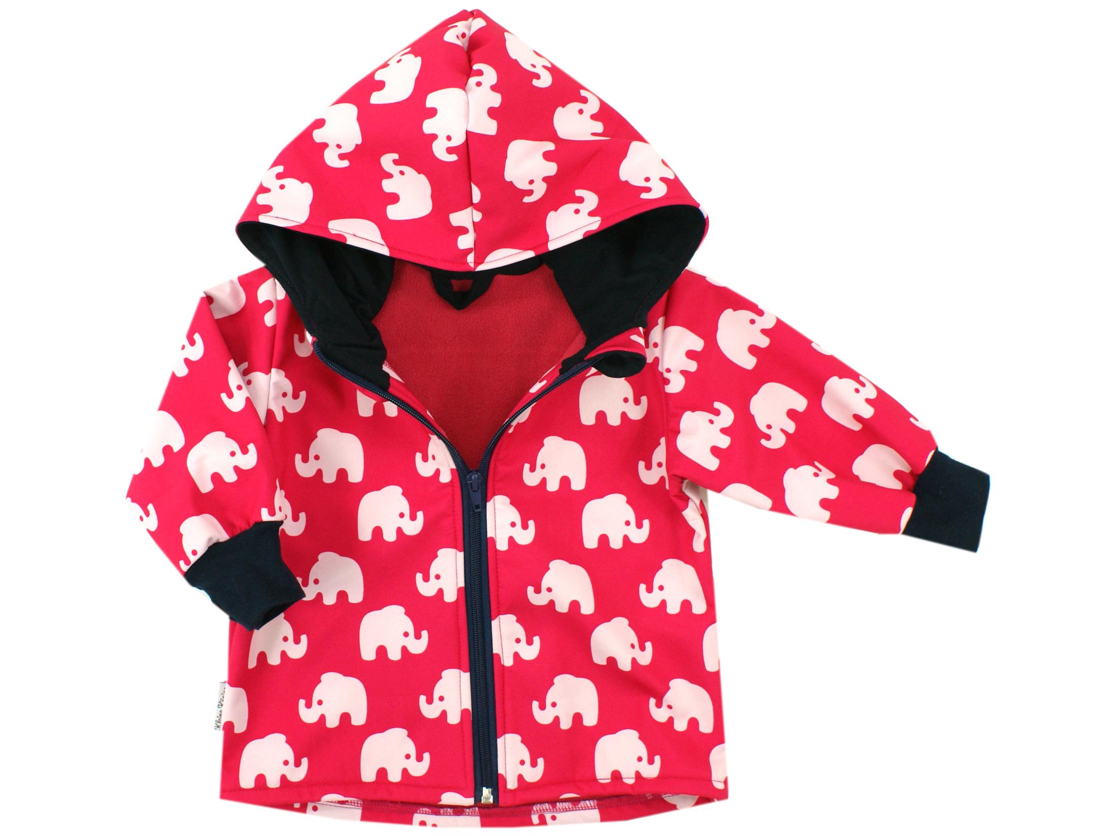 """Kinder Softshell-Jacke """"Elefanten"""" pink marineblau"""