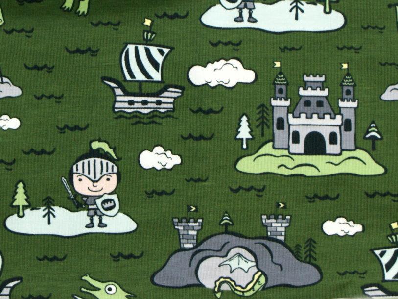 "Kinder Jerseyloop ""Ritter"" Burg grün grau"