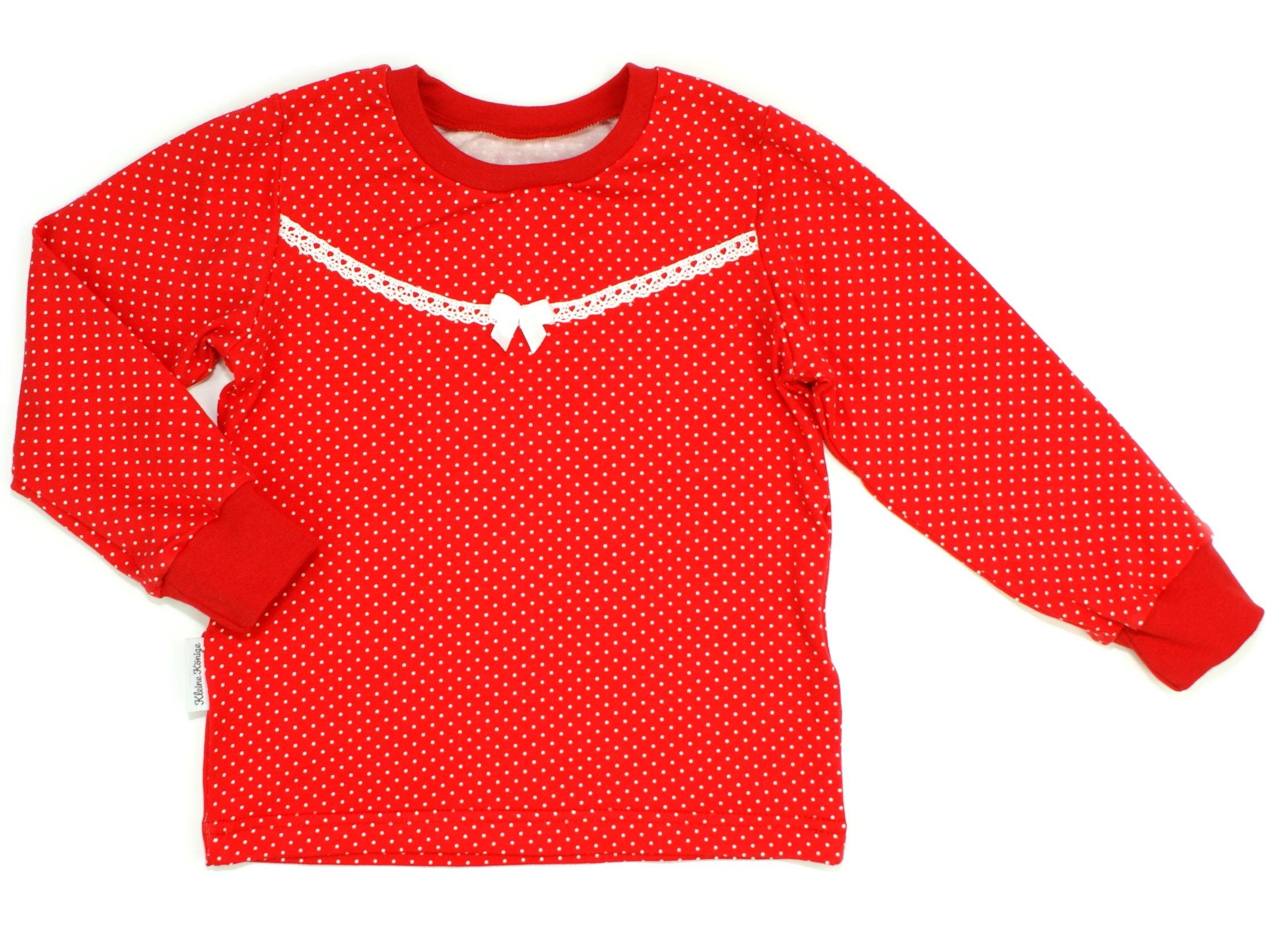 "Kinder Langarmshirt ""Punkte"" rot weiß"