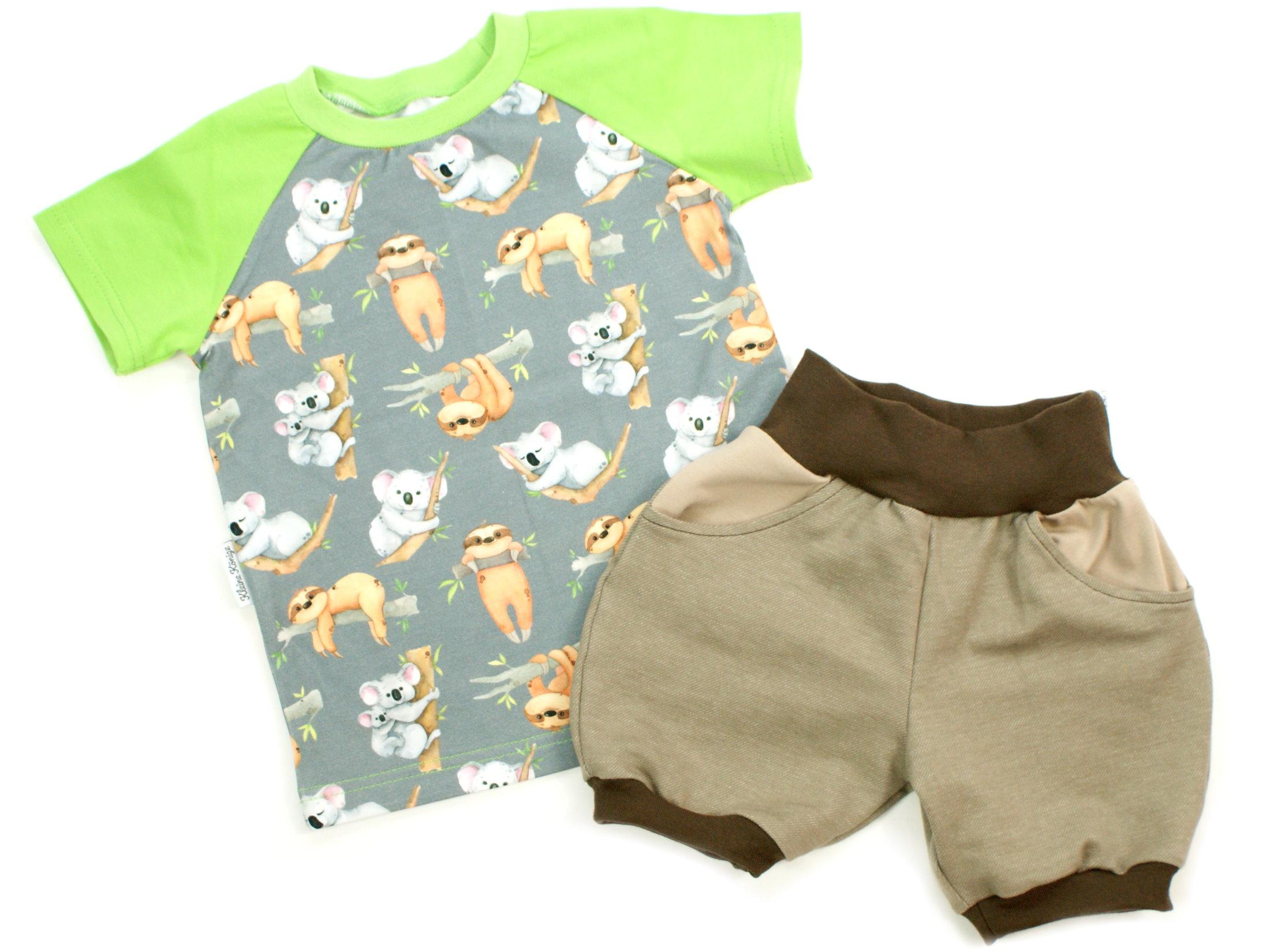 "Kinder T-Shirt ""Koala & Faultier"" grau lemon"