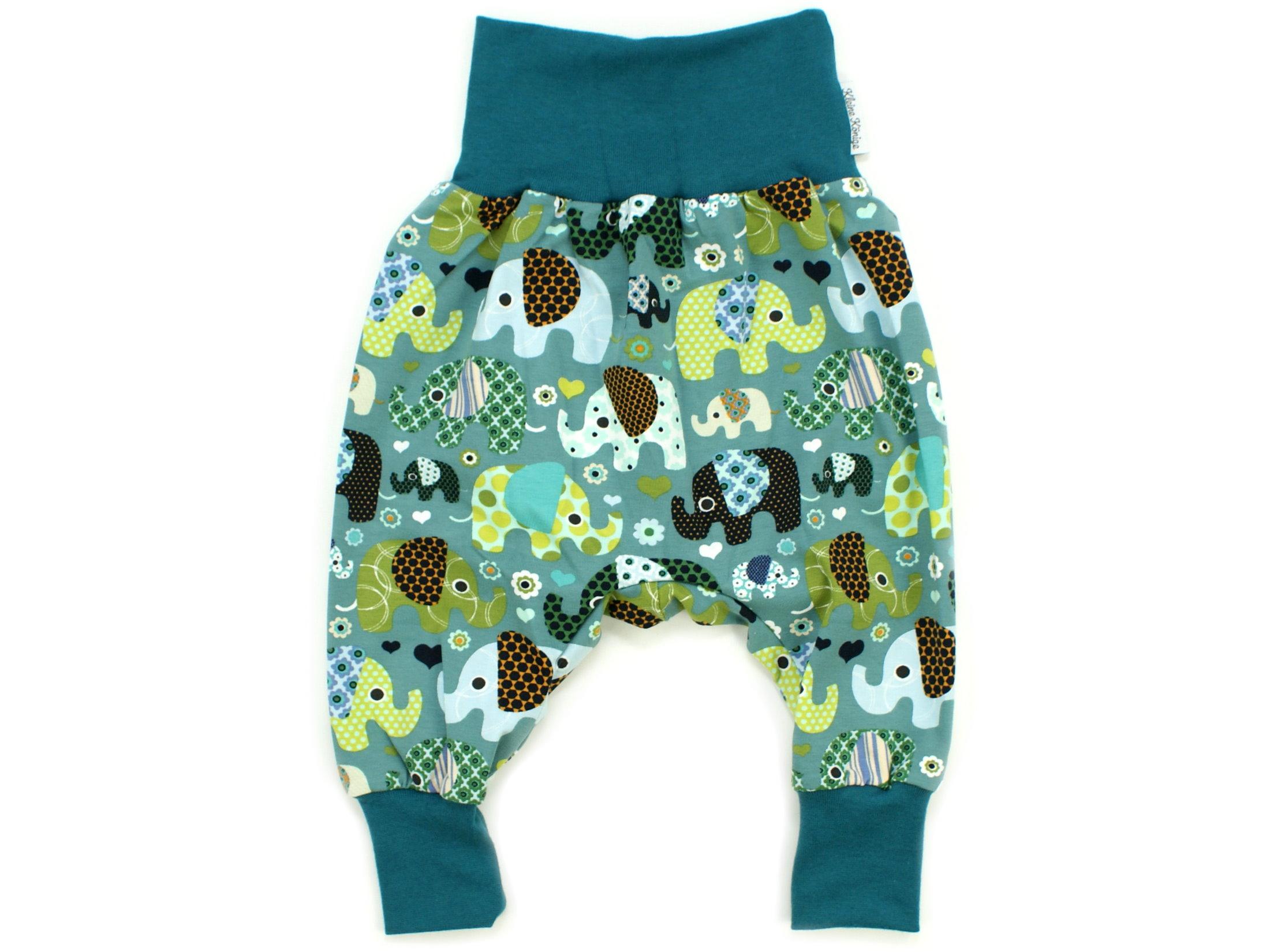 """Baby Pumphose Babyhose """"Elefantenparty"""" petrol aqua"""