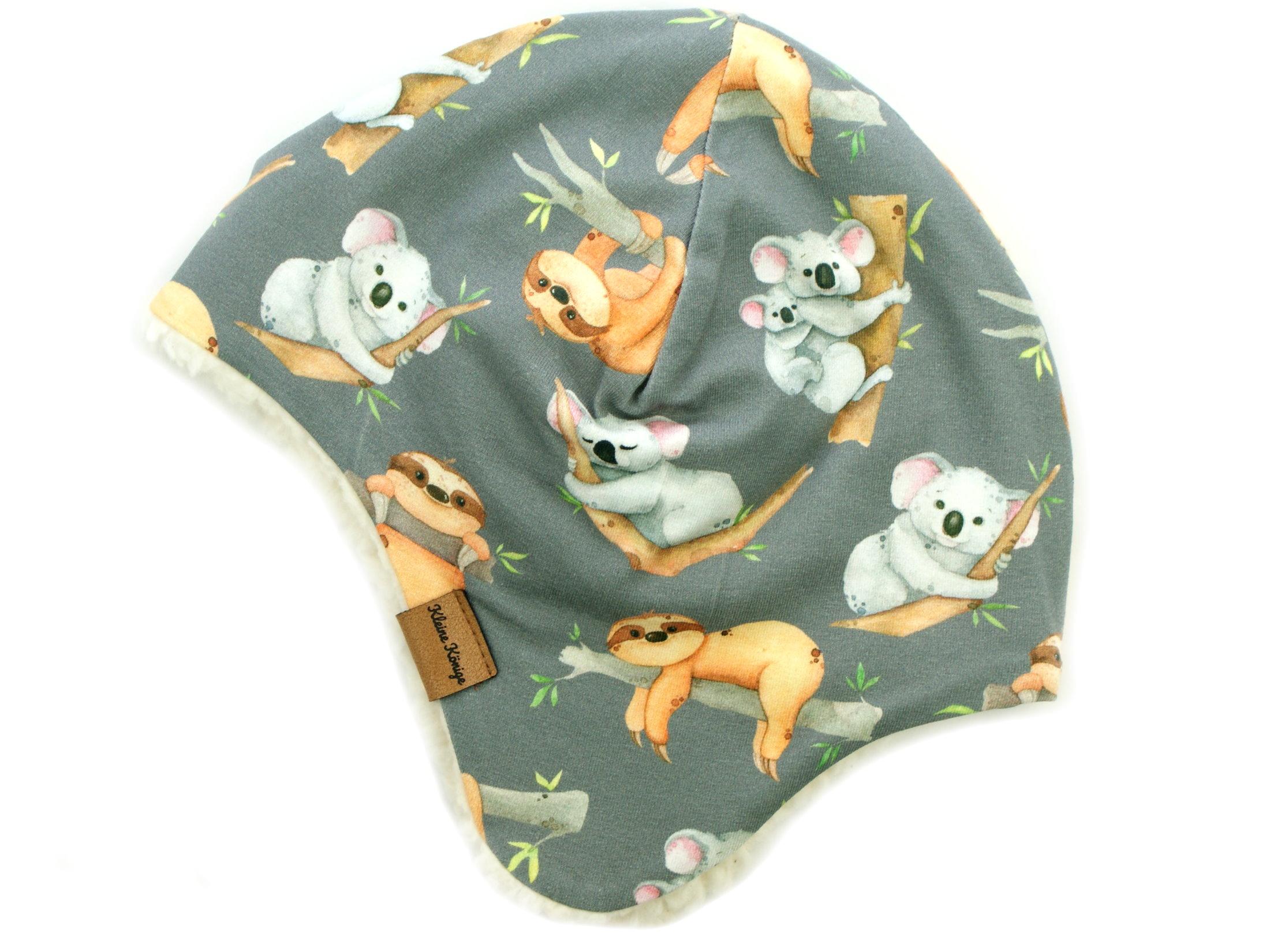 """Wintermütze Teddyfell """"Koala & Faultier"""" grau"""