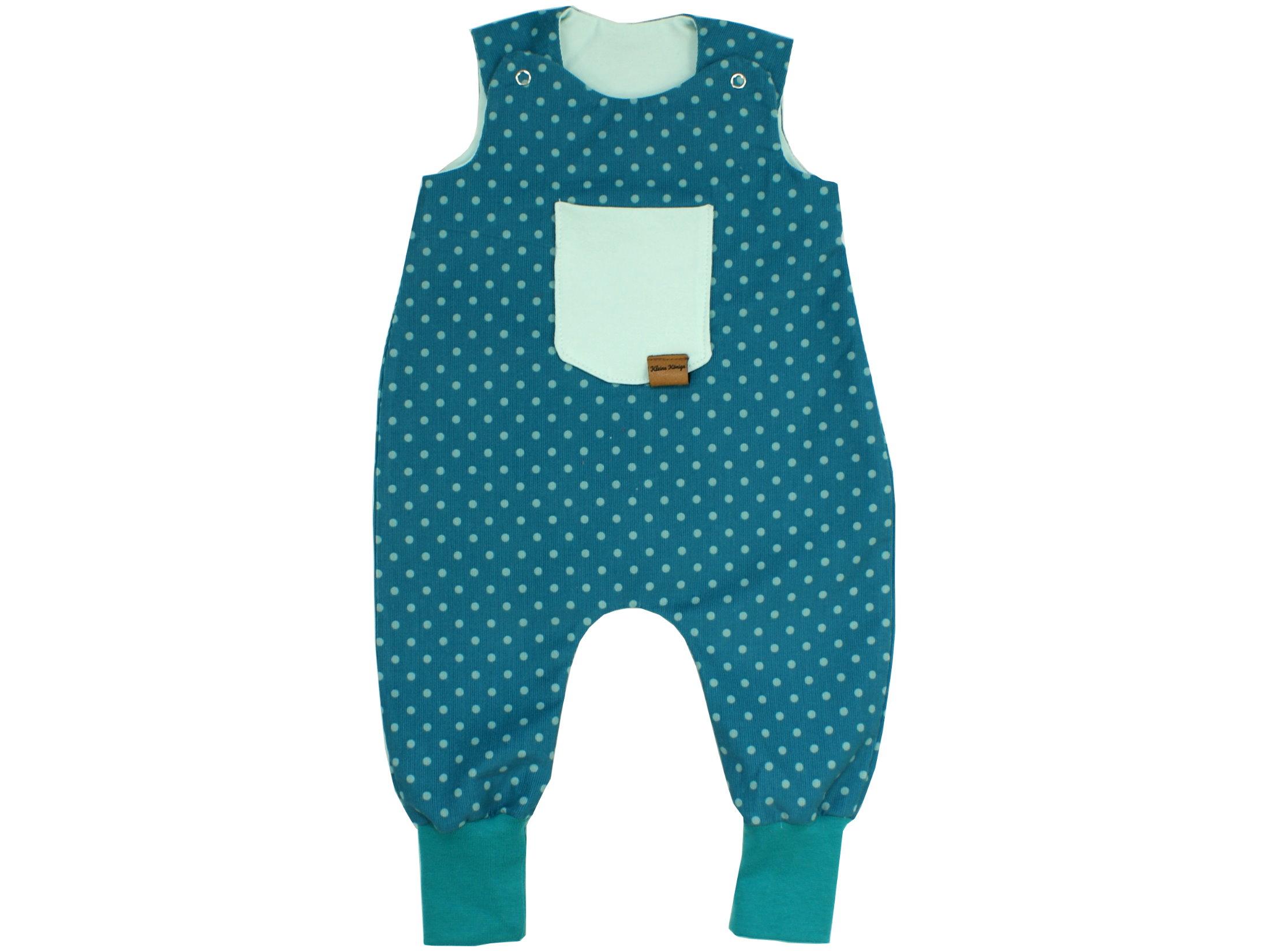 "Baby Strampler Babycord ""Dots"" petrol aqua"
