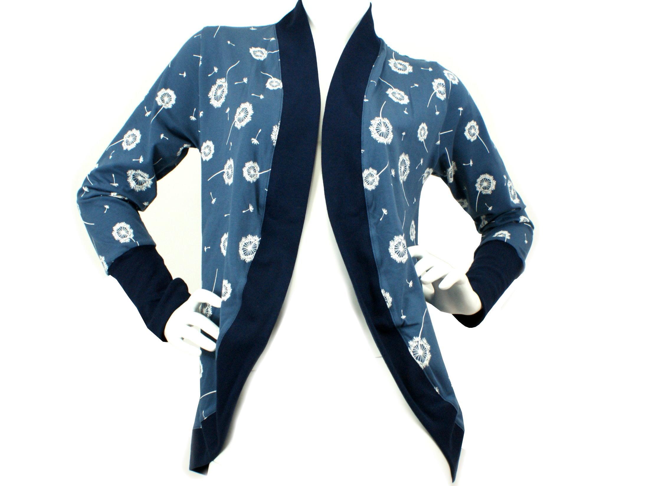 """Damenjacke Cardigan """"Pusteblumen"""" blau weiß"""