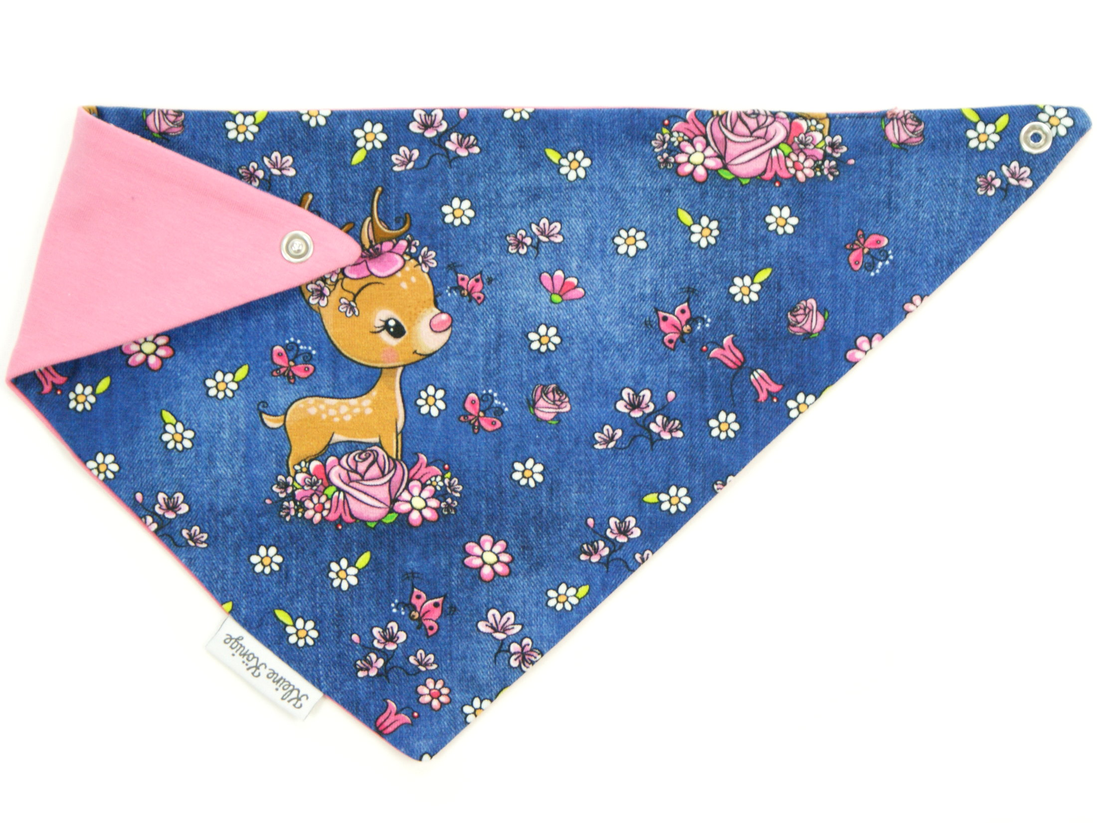 "Baby Wende-Halstuch Reh ""Bloomy Bambi"" jeansblau pink"
