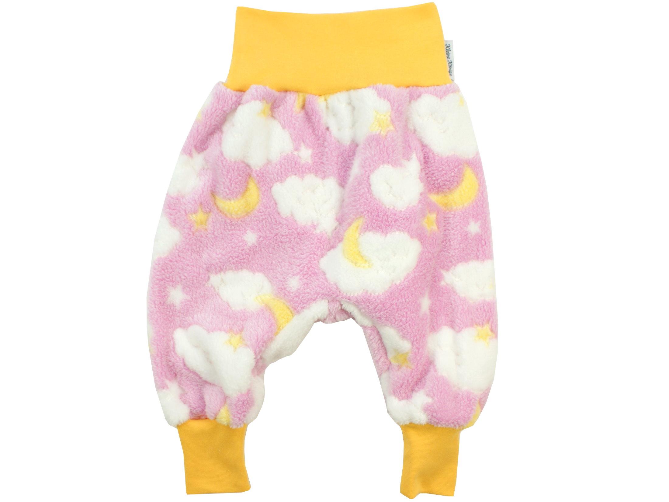 """Baby Fleecehose """"Mond und Sterne"""" rosa gelb aus Kuschelfleece"""