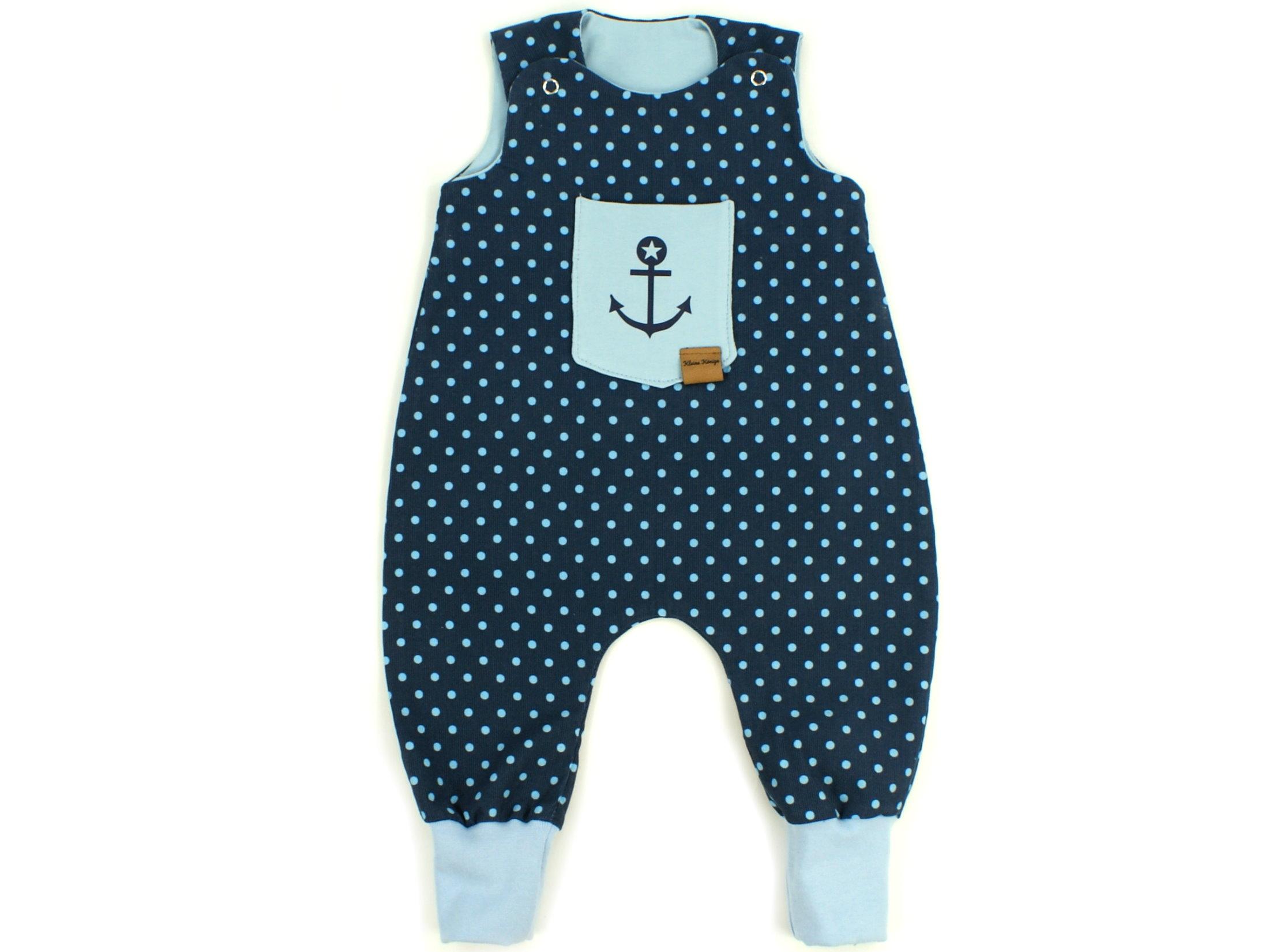 "Baby Strampler Babycord ""Dots"" Anker marineblau"