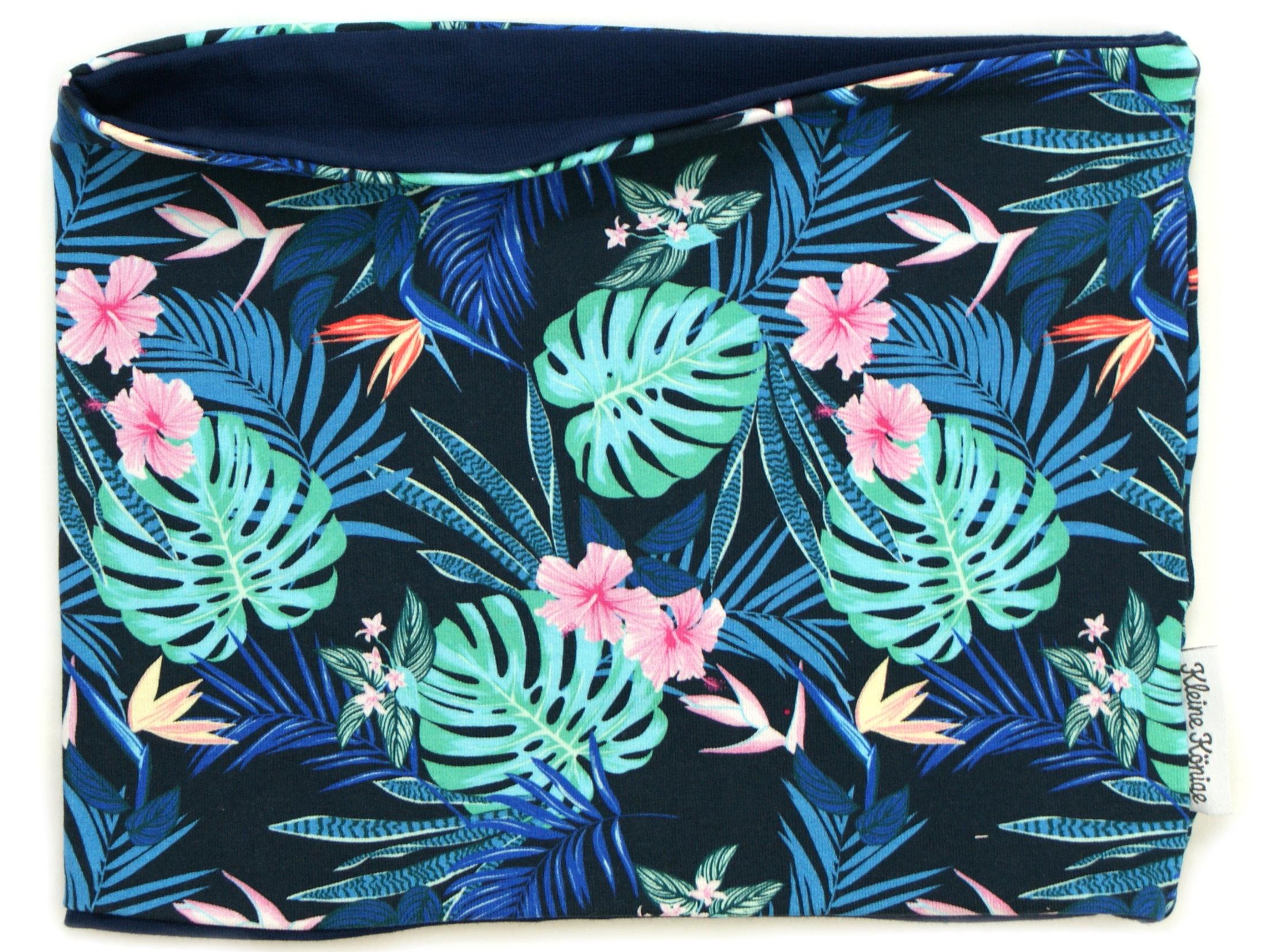 "Kinderloop Schal ""Tropic"" marineblau rosa"