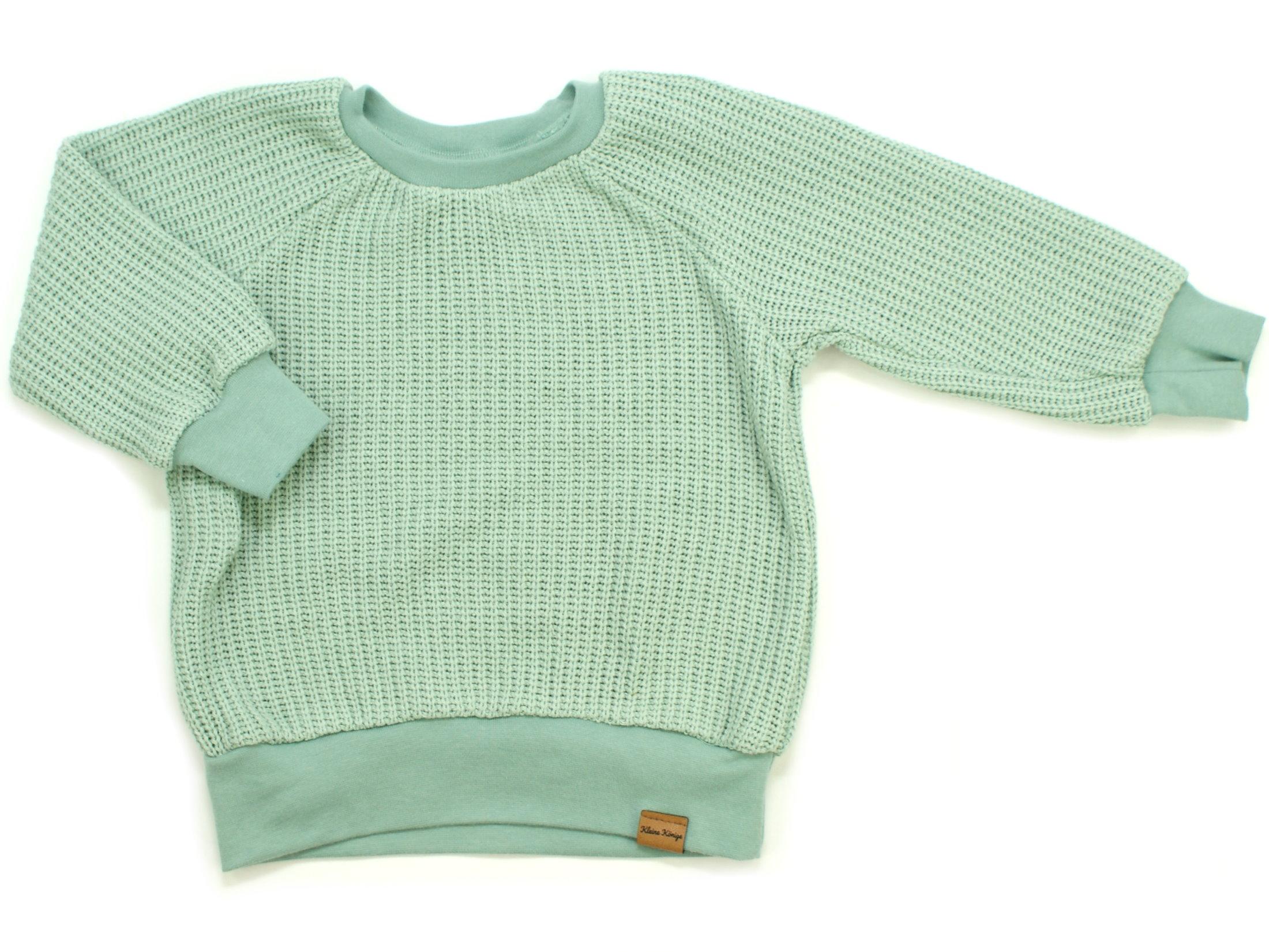 Kinder Pullover Shirt Strick Uni mint