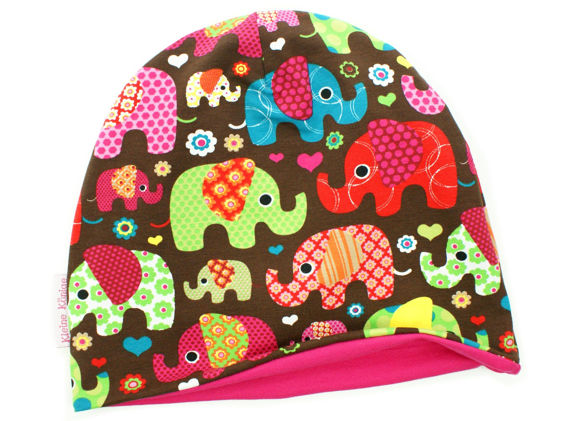 """Kindermütze Beanie """"Elefantenparty"""" pink braun"""