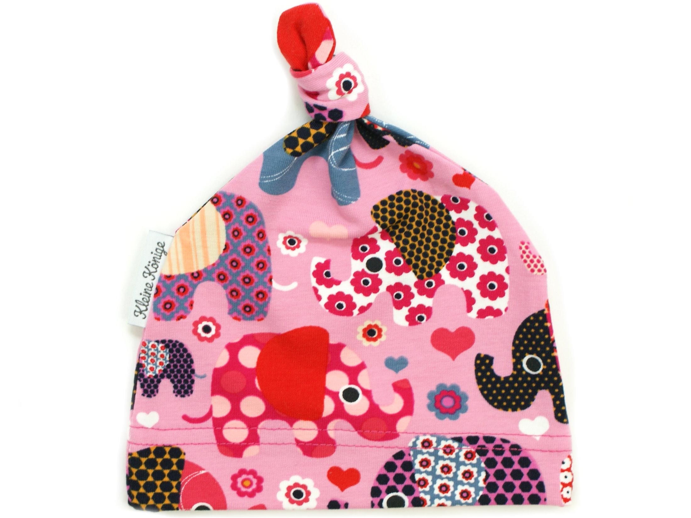 "Babymütze Knotenmütze ""Elefantenparty"" rosa beere"