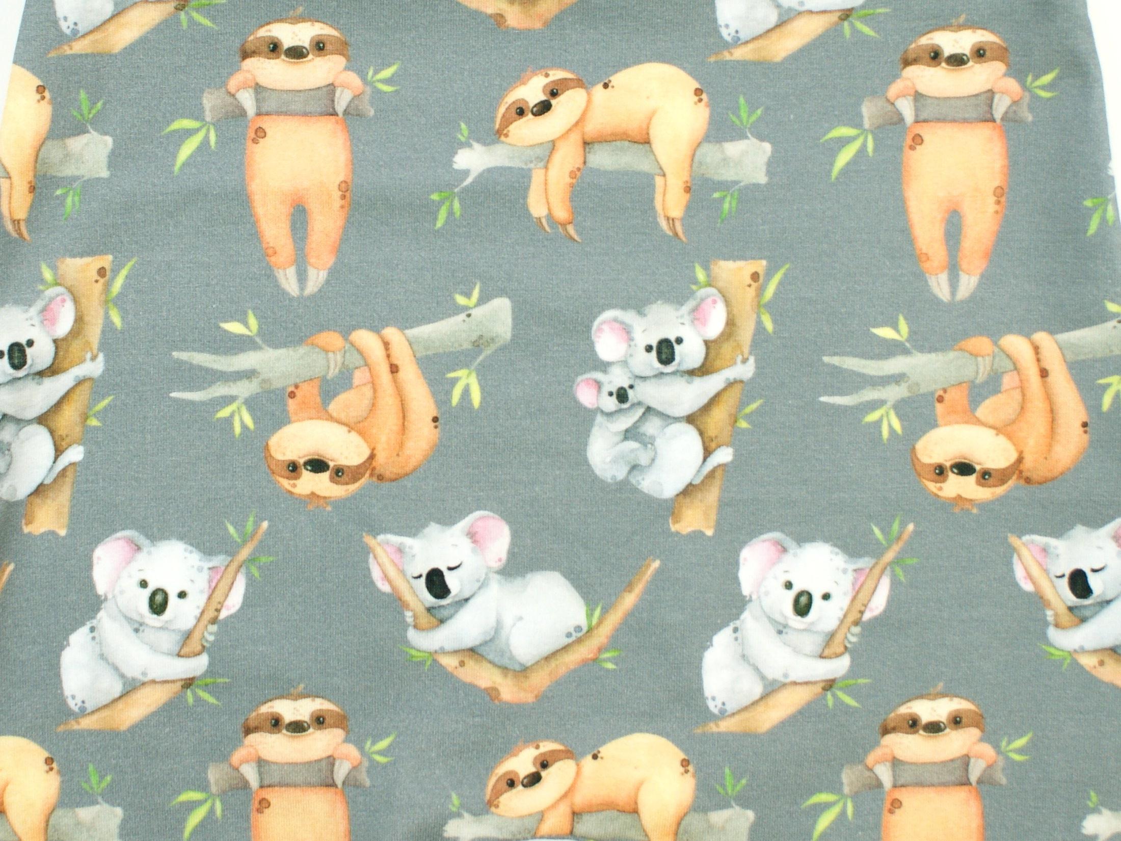"Baby Pumphose ""Koala & Faultier"" grau lemon"