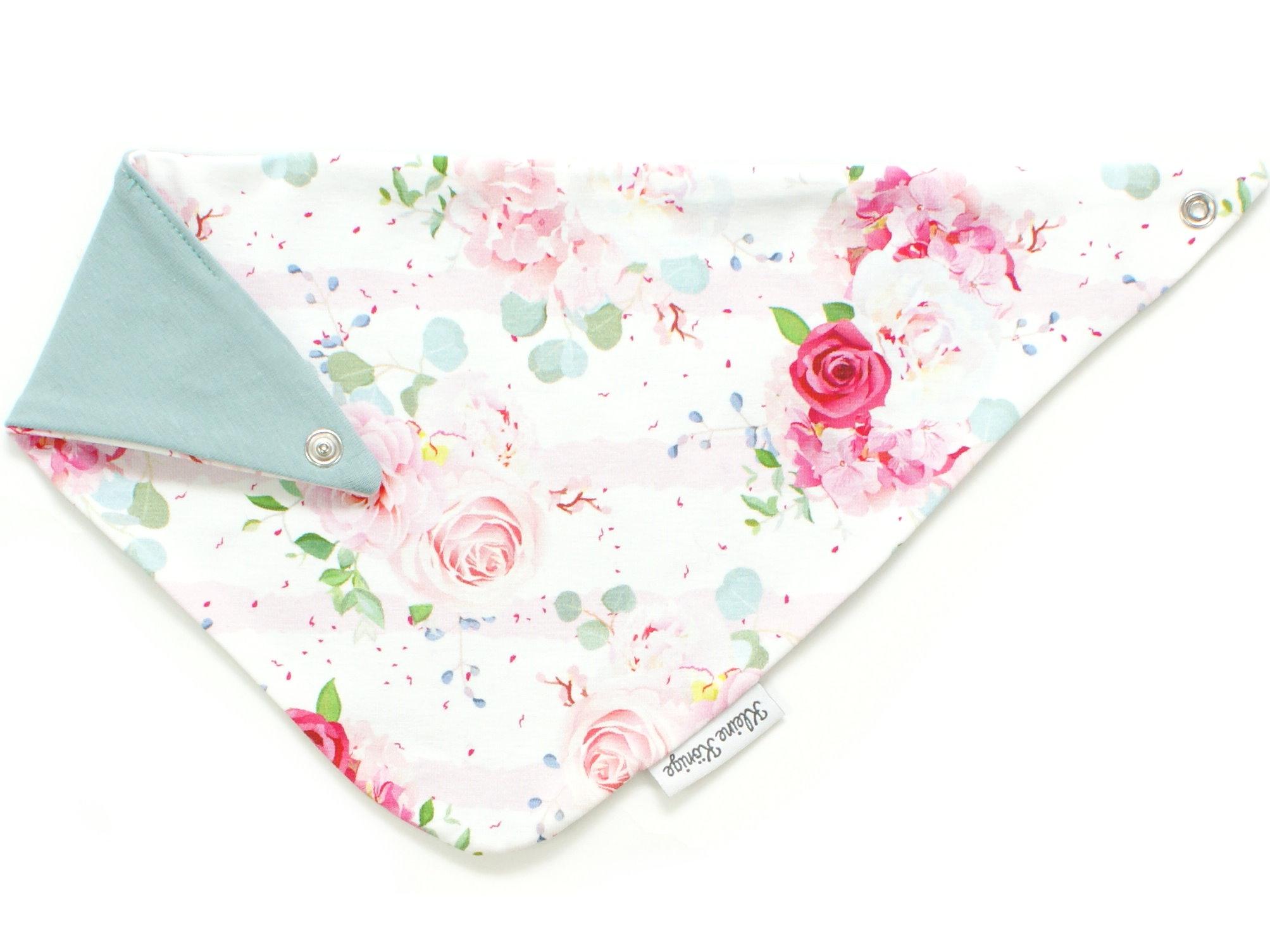 """Baby Wende-Halstuch Blumen """"Pastel Flowers"""" rosa weiß"""